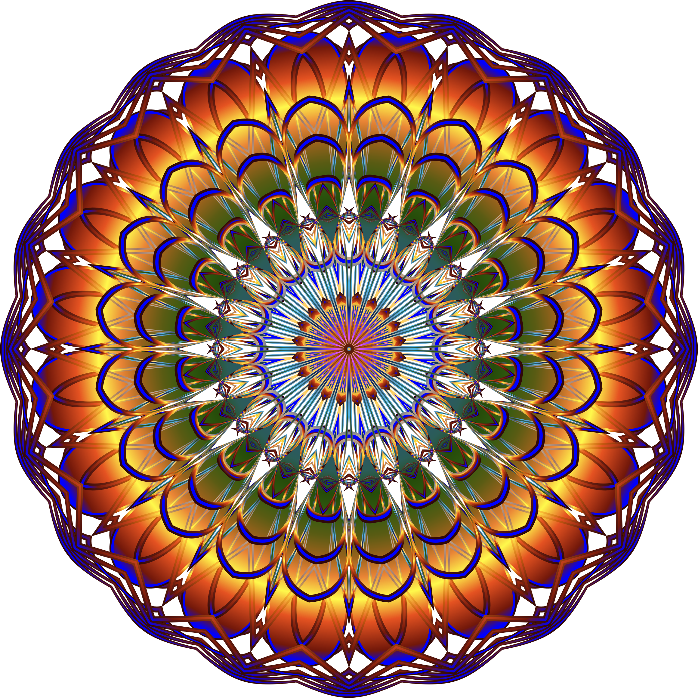 Prismatic Mandala Line Art 4 No Background by GDJ