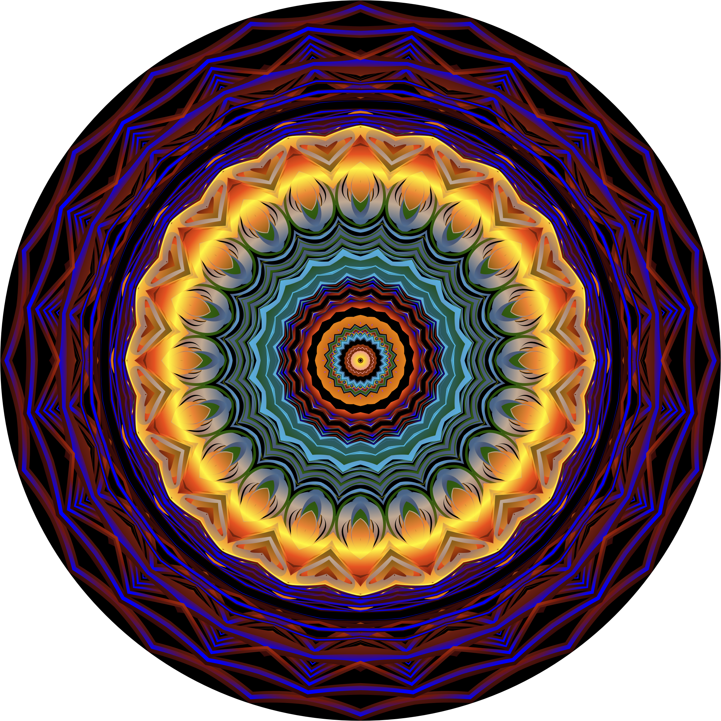 Prismatic Mandala Line Art 7 by GDJ