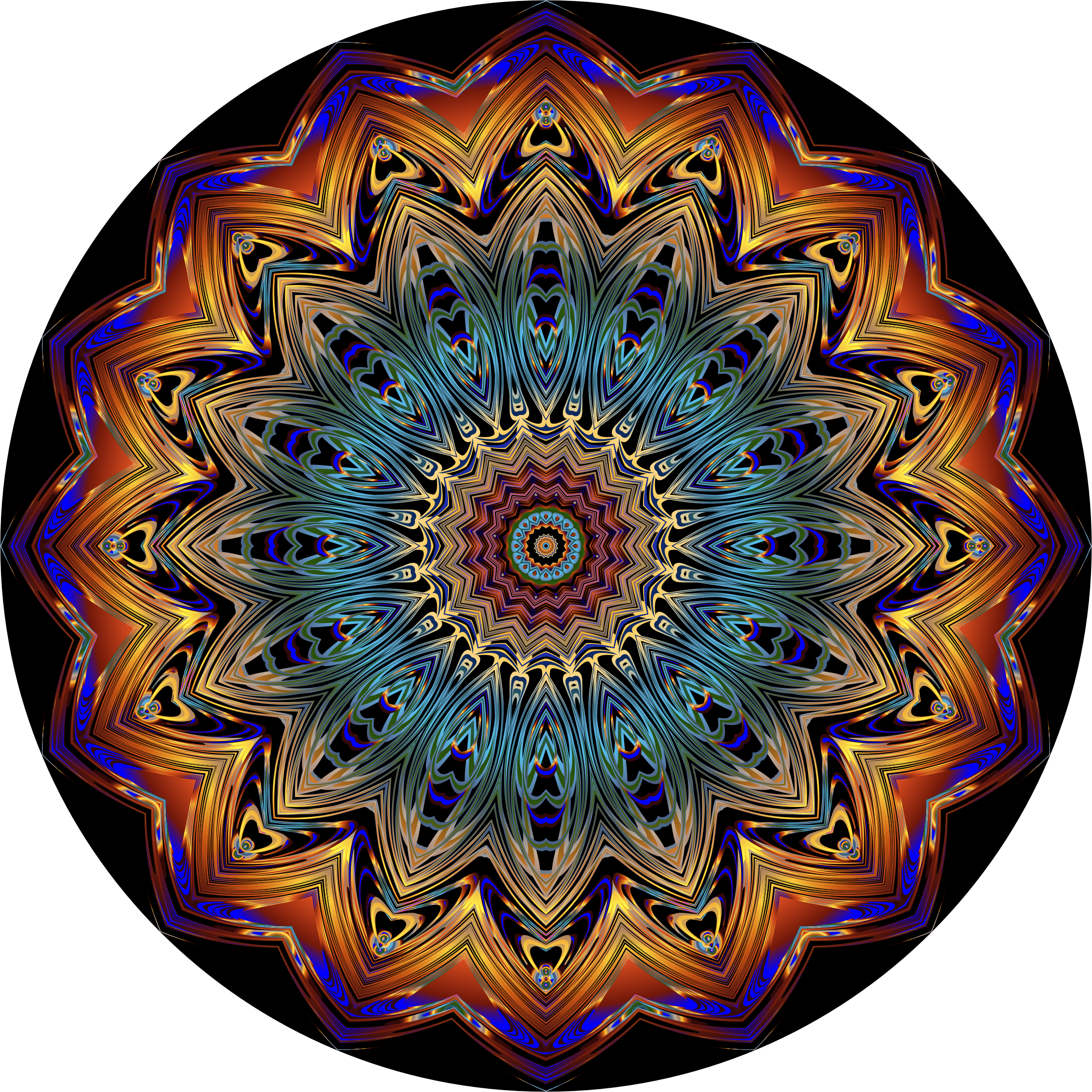 Prismatic Mandala Line Art 9 by GDJ