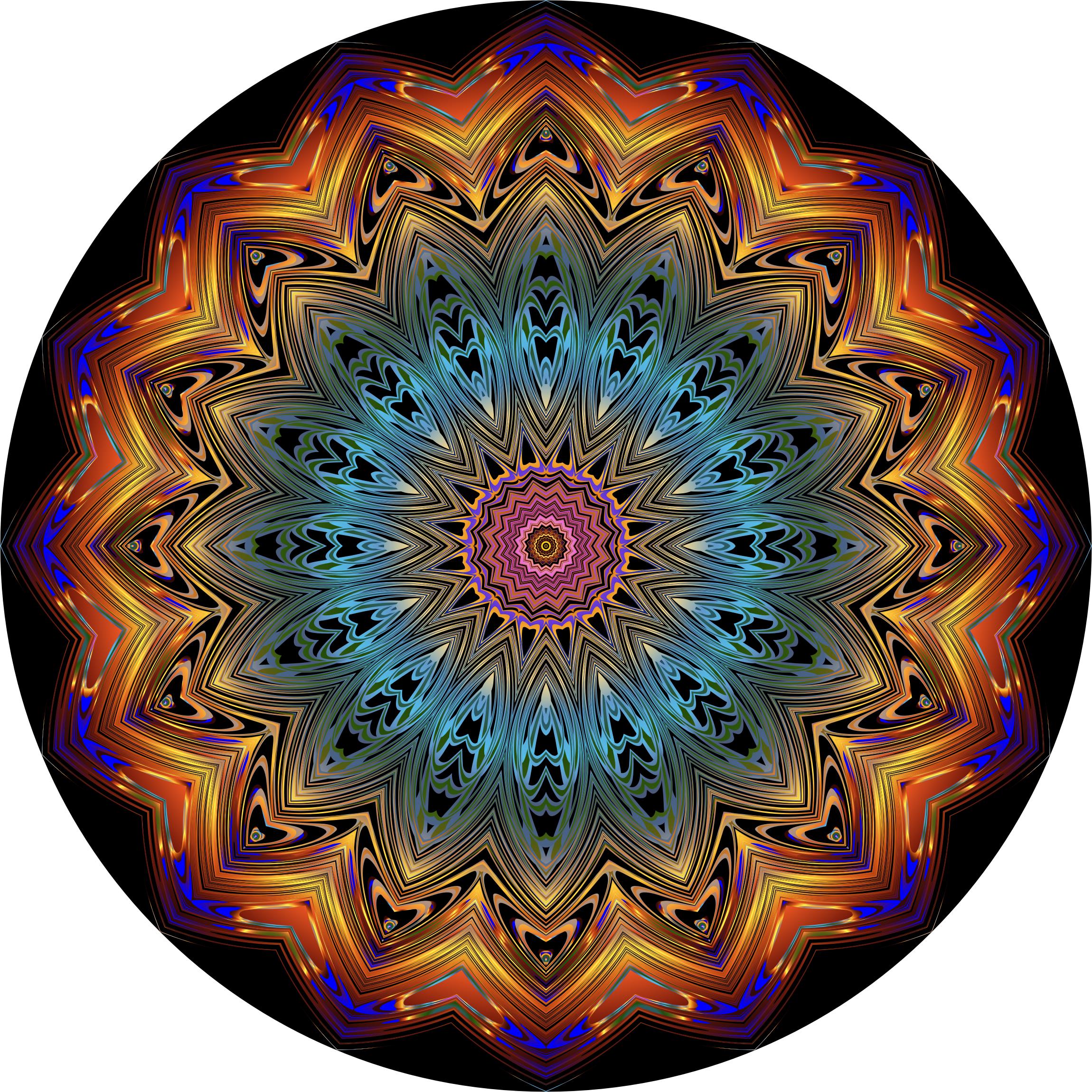 Prismatic Mandala Line Art 10 by GDJ