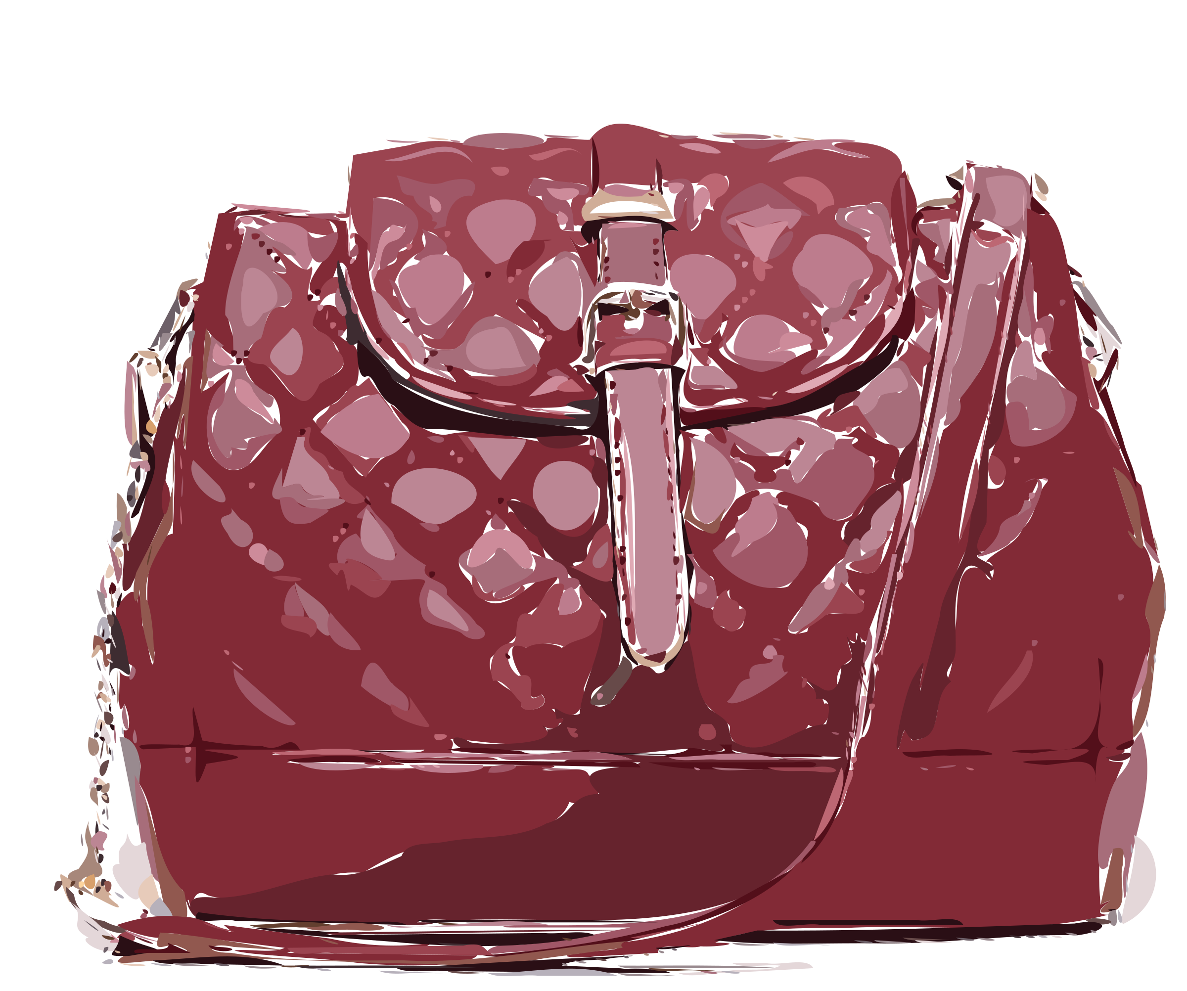 Red Patterned Leather Bag by rejon