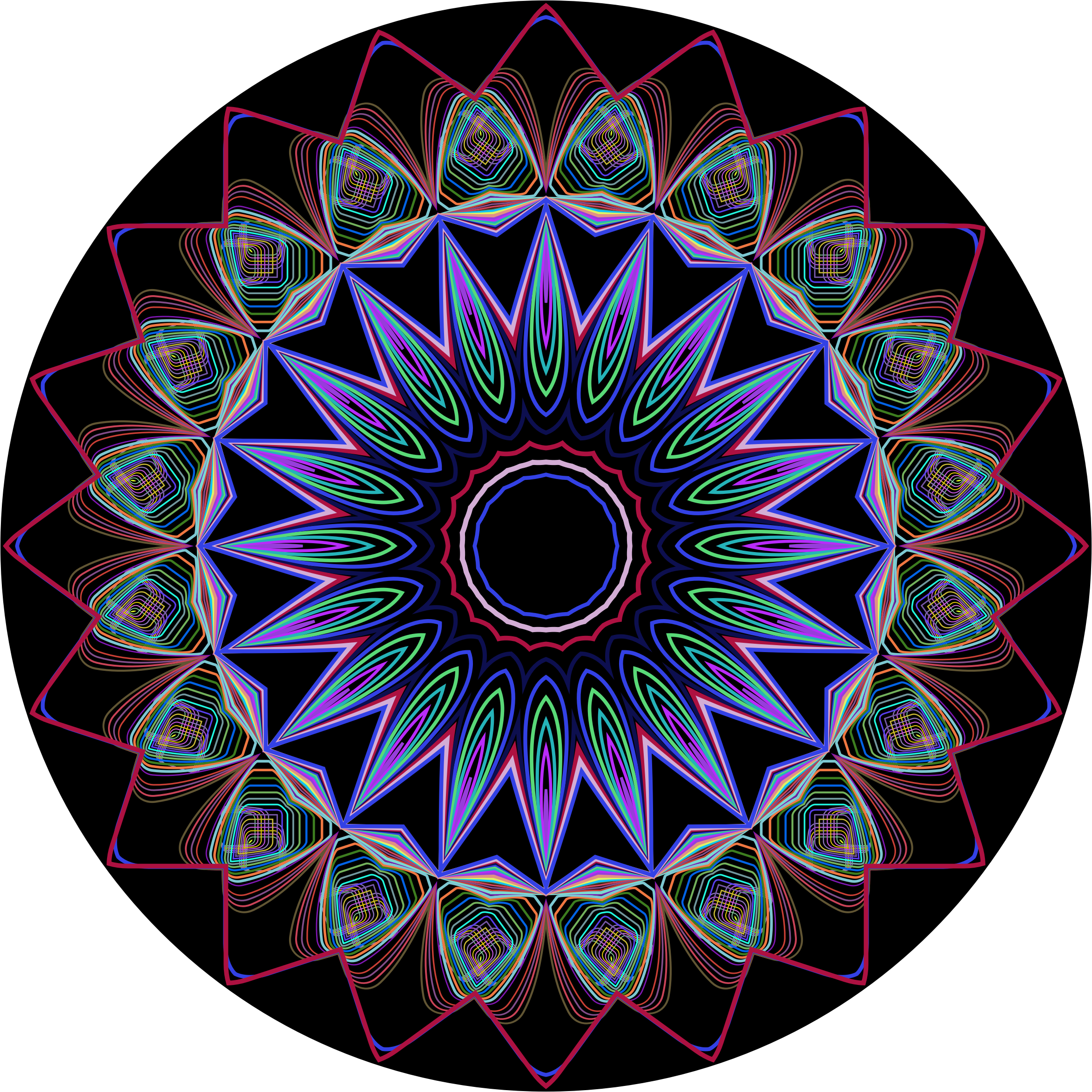 Prismatic Mandala Line Art Design 3 by GDJ