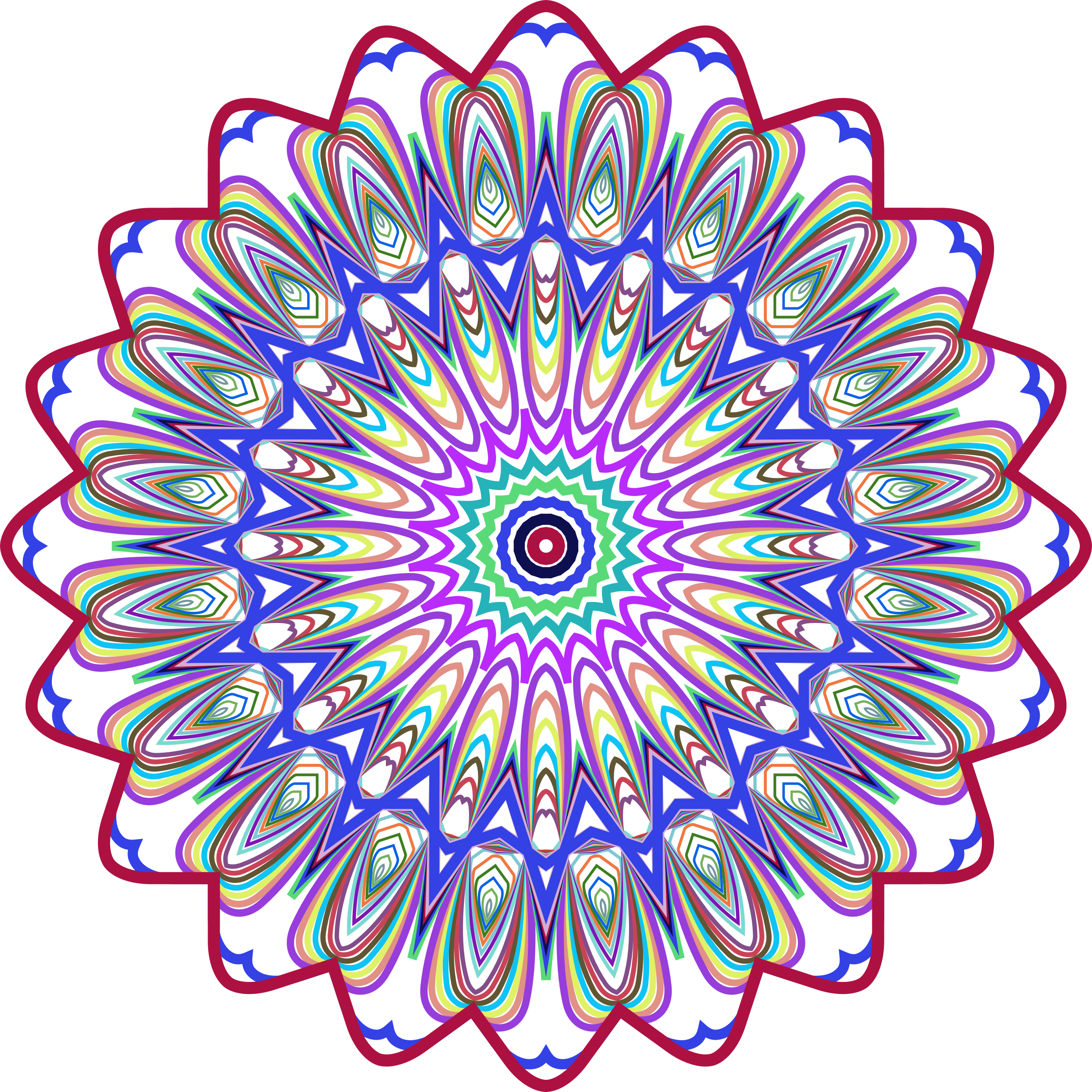 Prismatic Mandala Line Art Design 4 No Background by GDJ