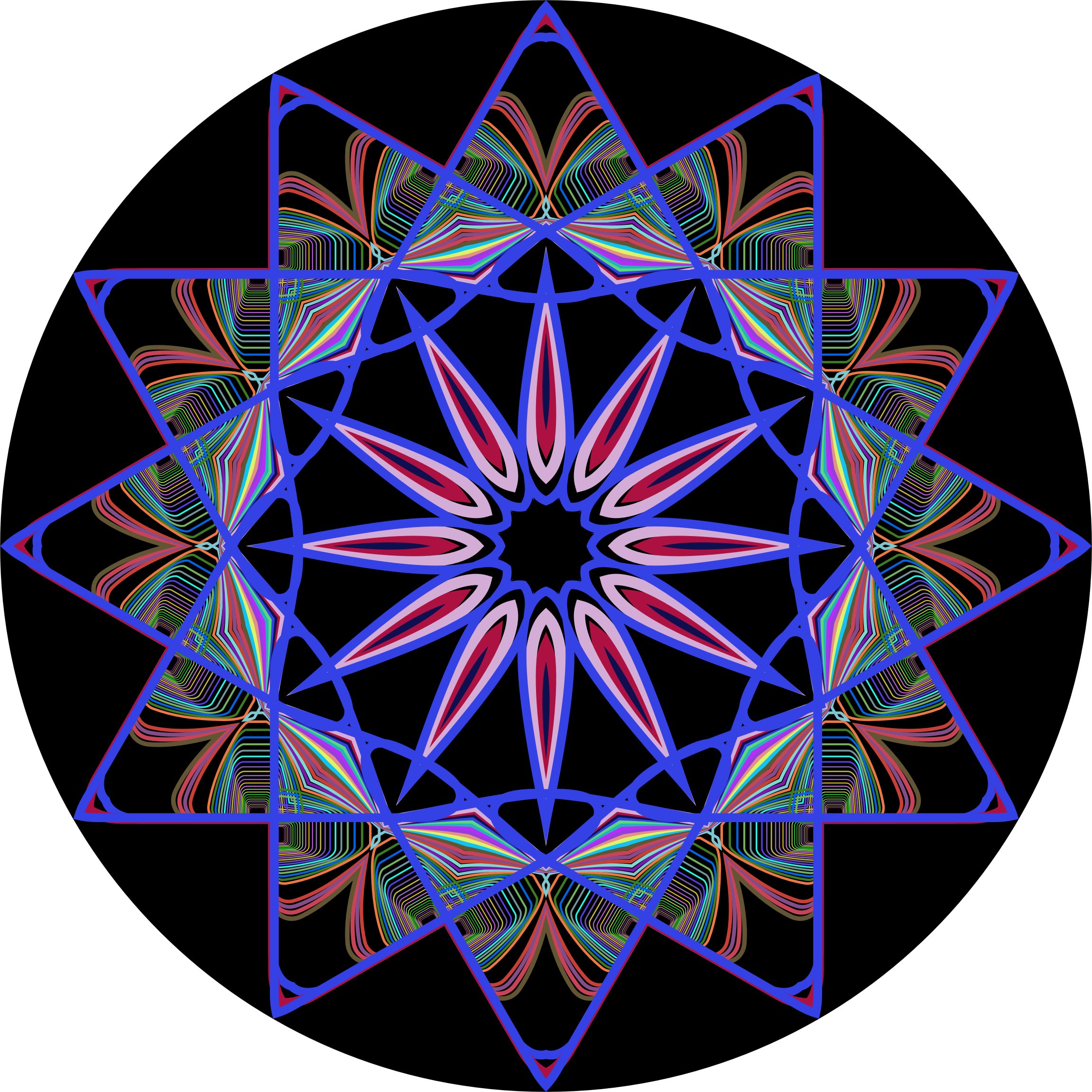 Prismatic Mandala Line Art Design 5 by GDJ