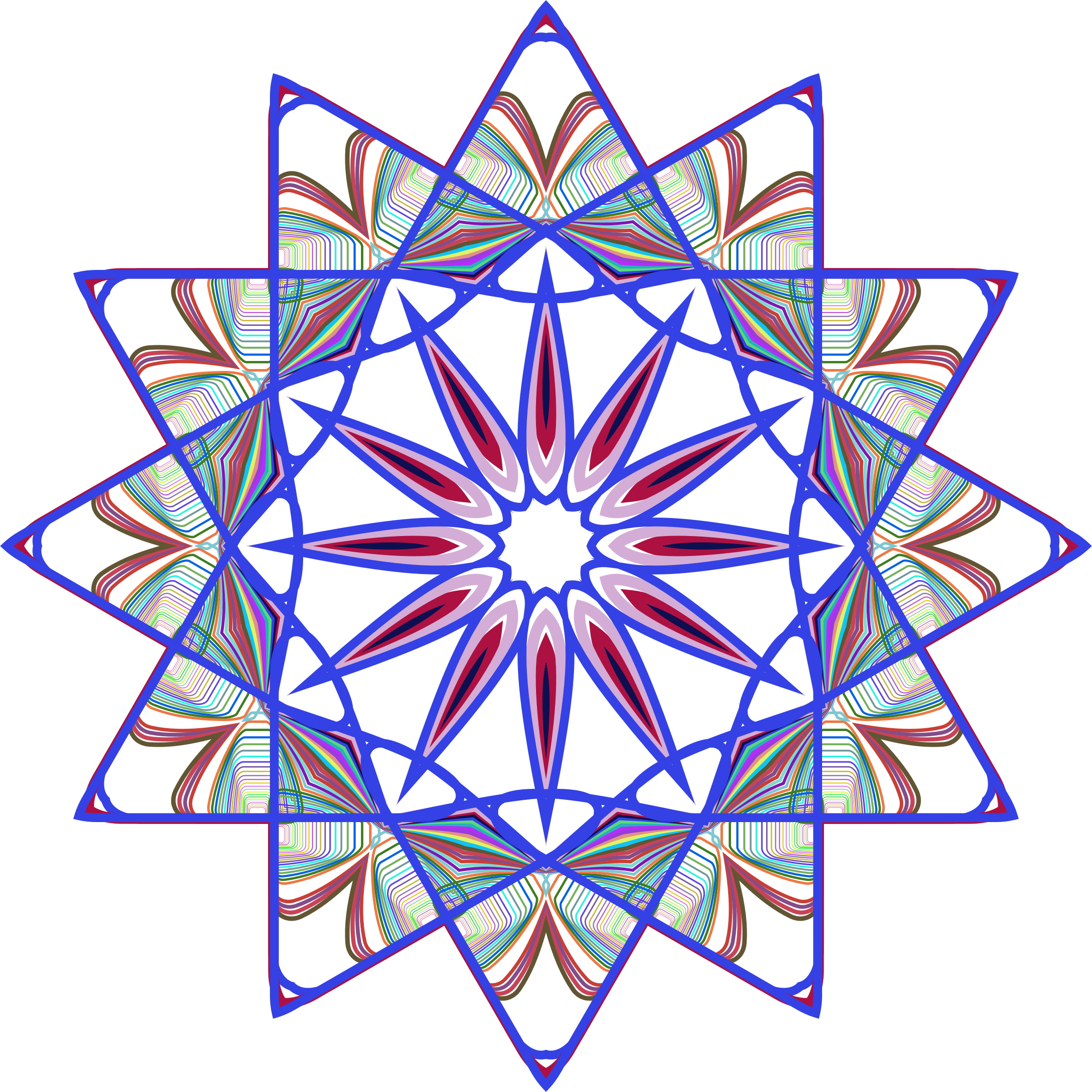 Prismatic Mandala Line Art Design 5 No Background by GDJ