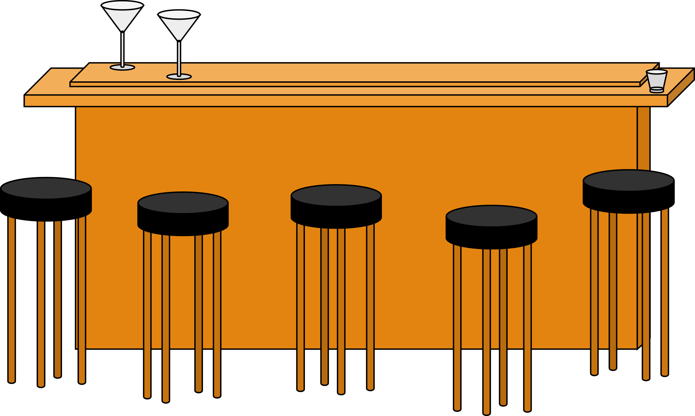 Clipart Bar With Stools