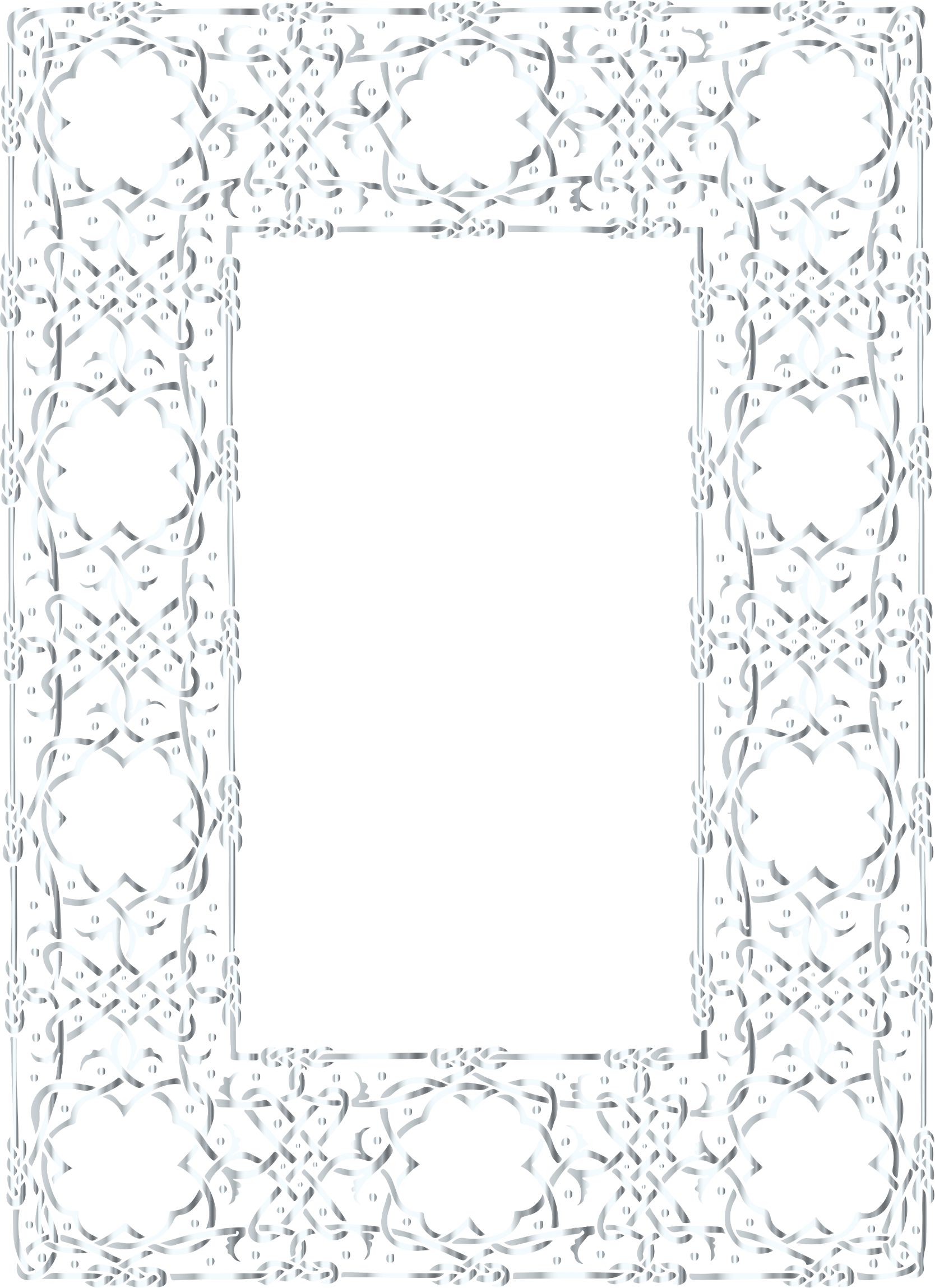 Silver Ornate Geometric Frame No Background by GDJ