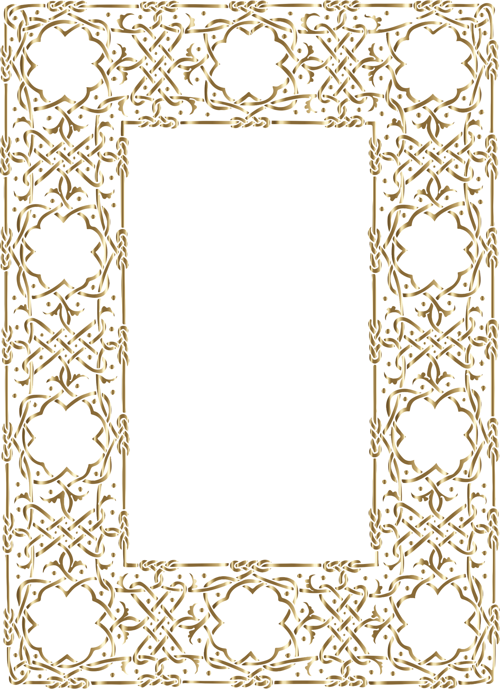 Clipart - Gold Ornate Geometric Frame No Background