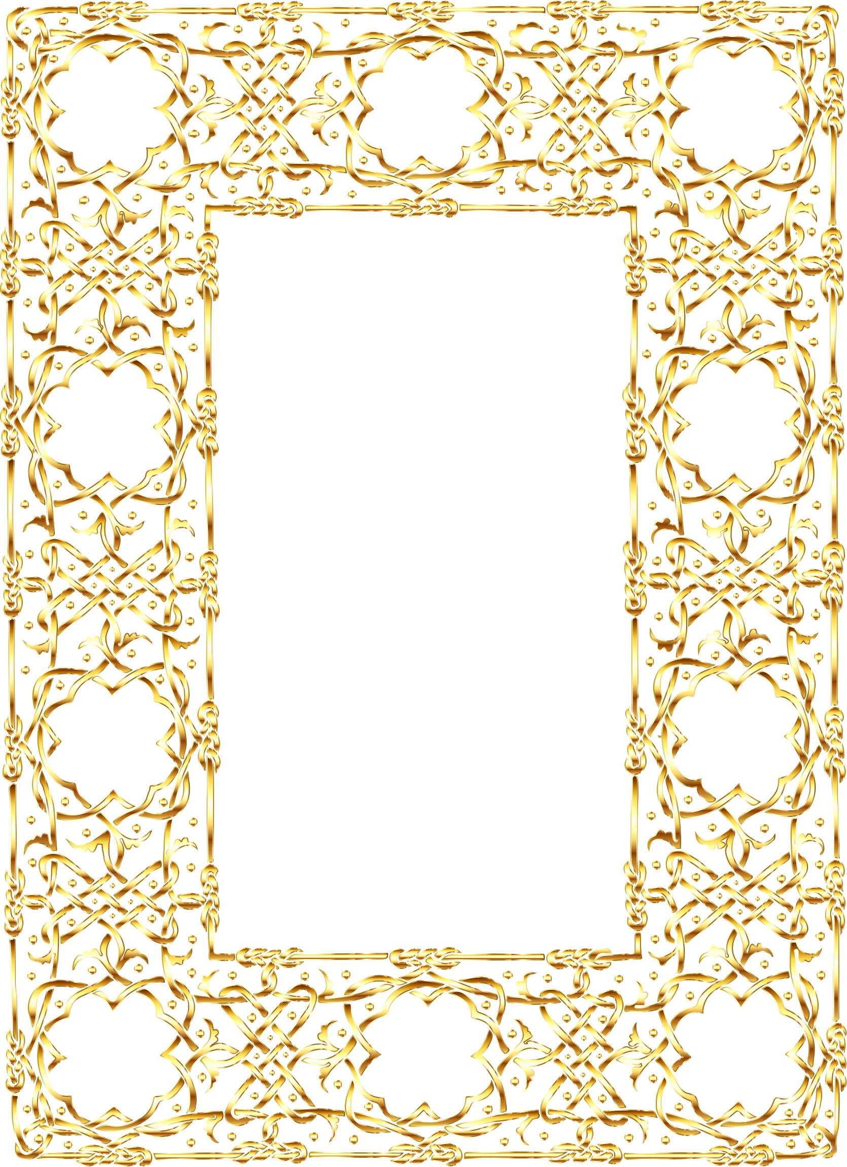 Gold Ornate Geometric Frame 2 No Background by GDJ