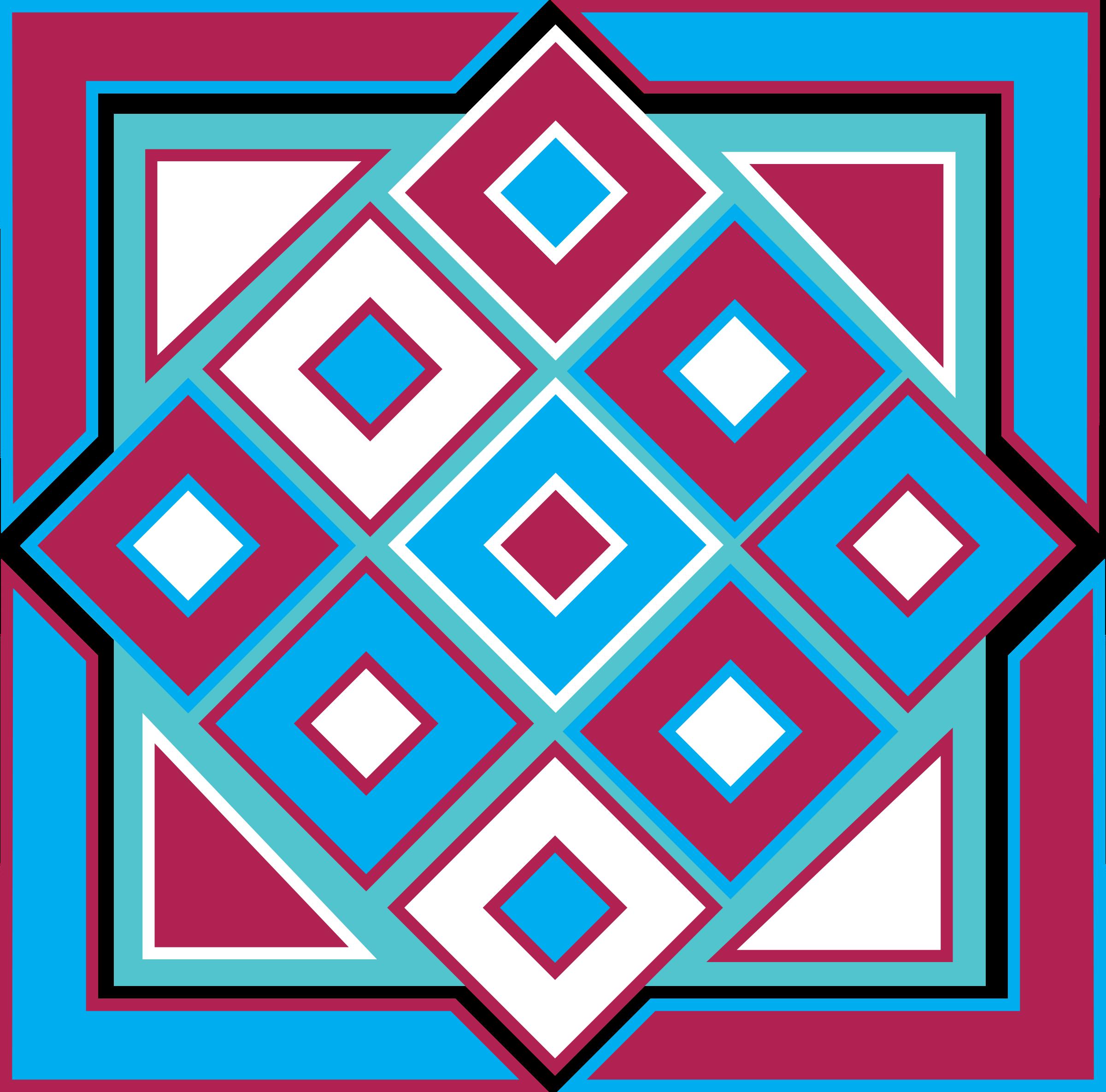 Clipart - Square Box Design Blue, Red & Aqua
