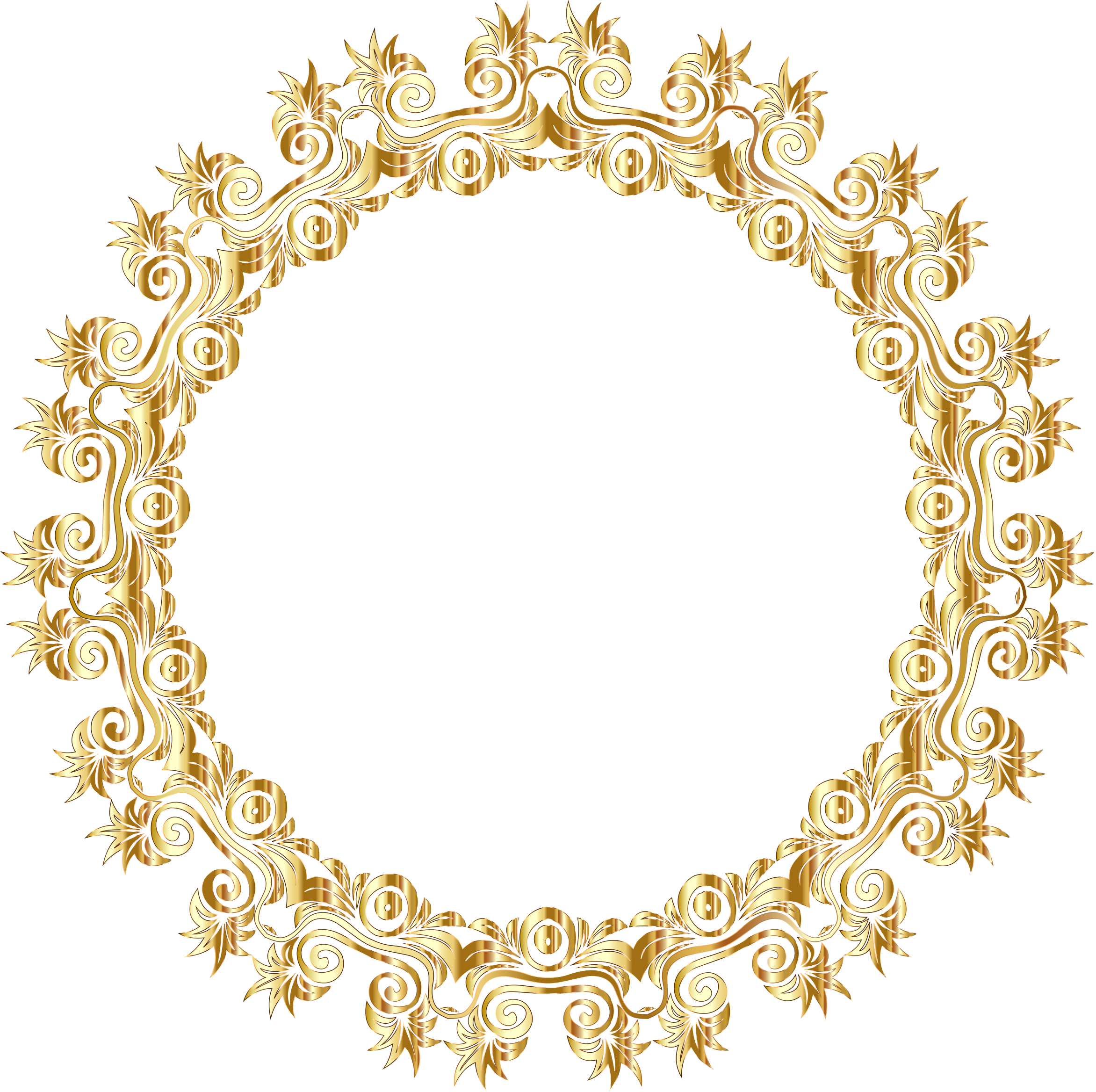 Gold Floral Flourish Motif Frame No Background by GDJ