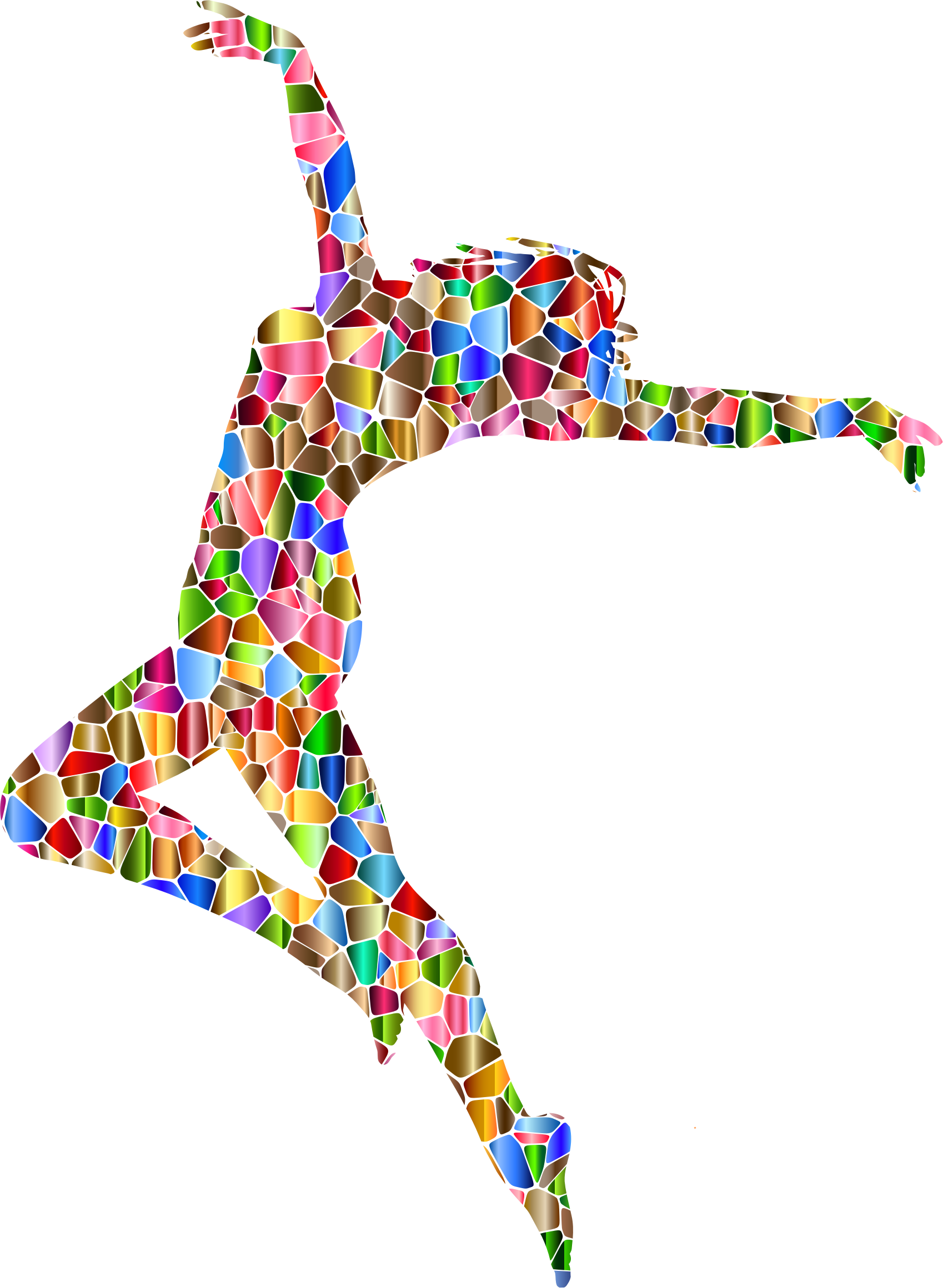 Chromatic Tiled Carefree Dancing Woman Silhouette by GDJ