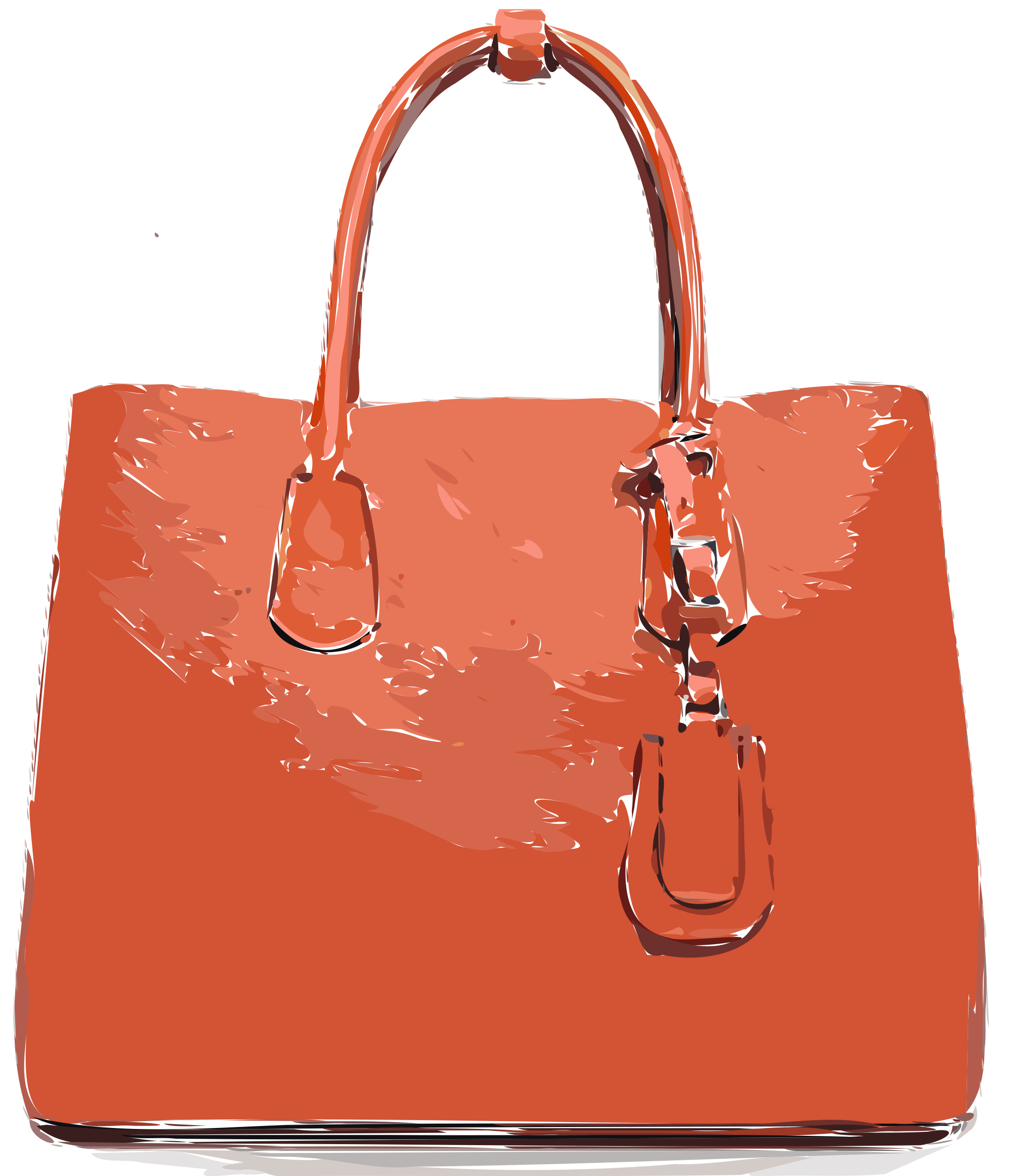 Orange Flat Leather Bag by rejon