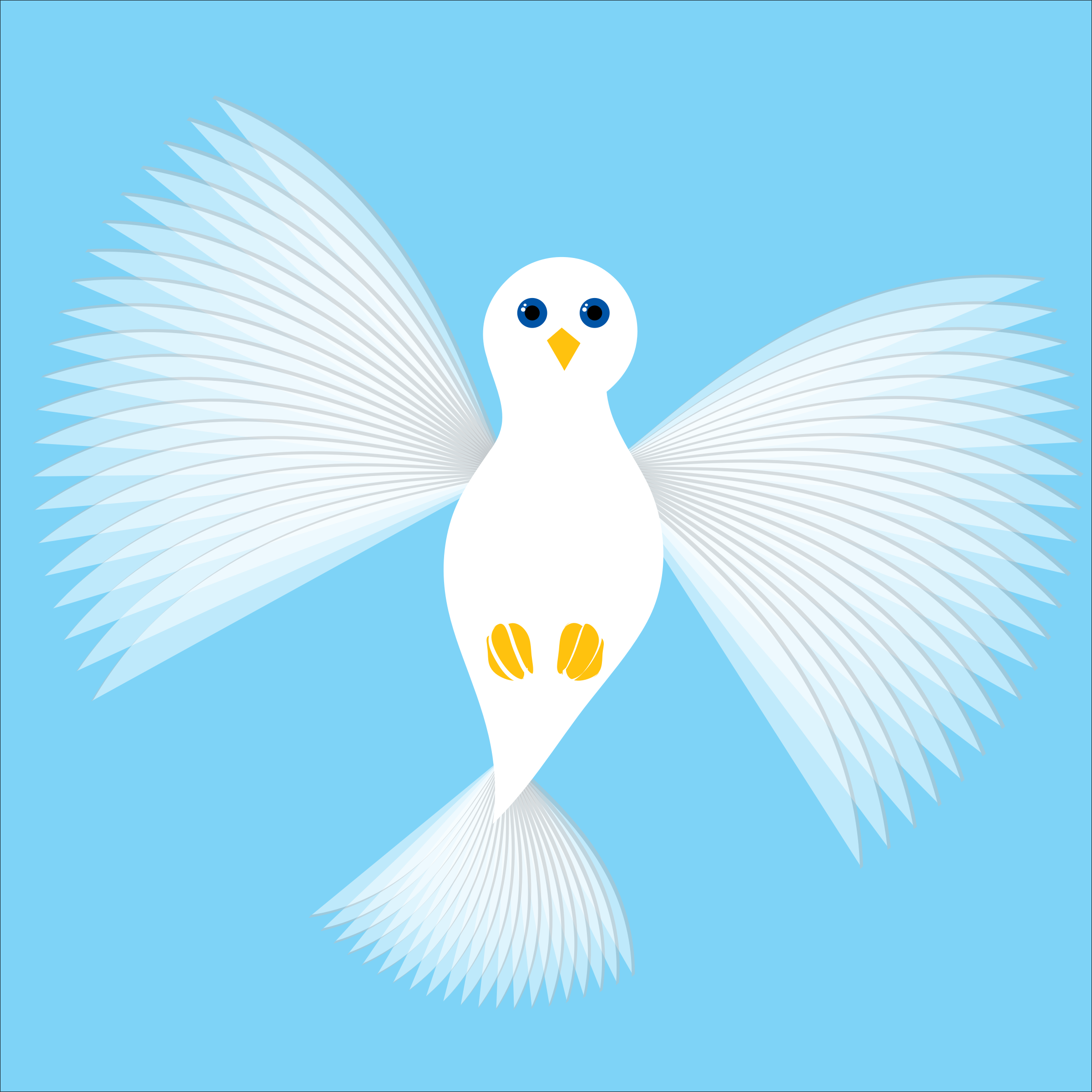 Flying Dove Blue background outline wings by dkonz01