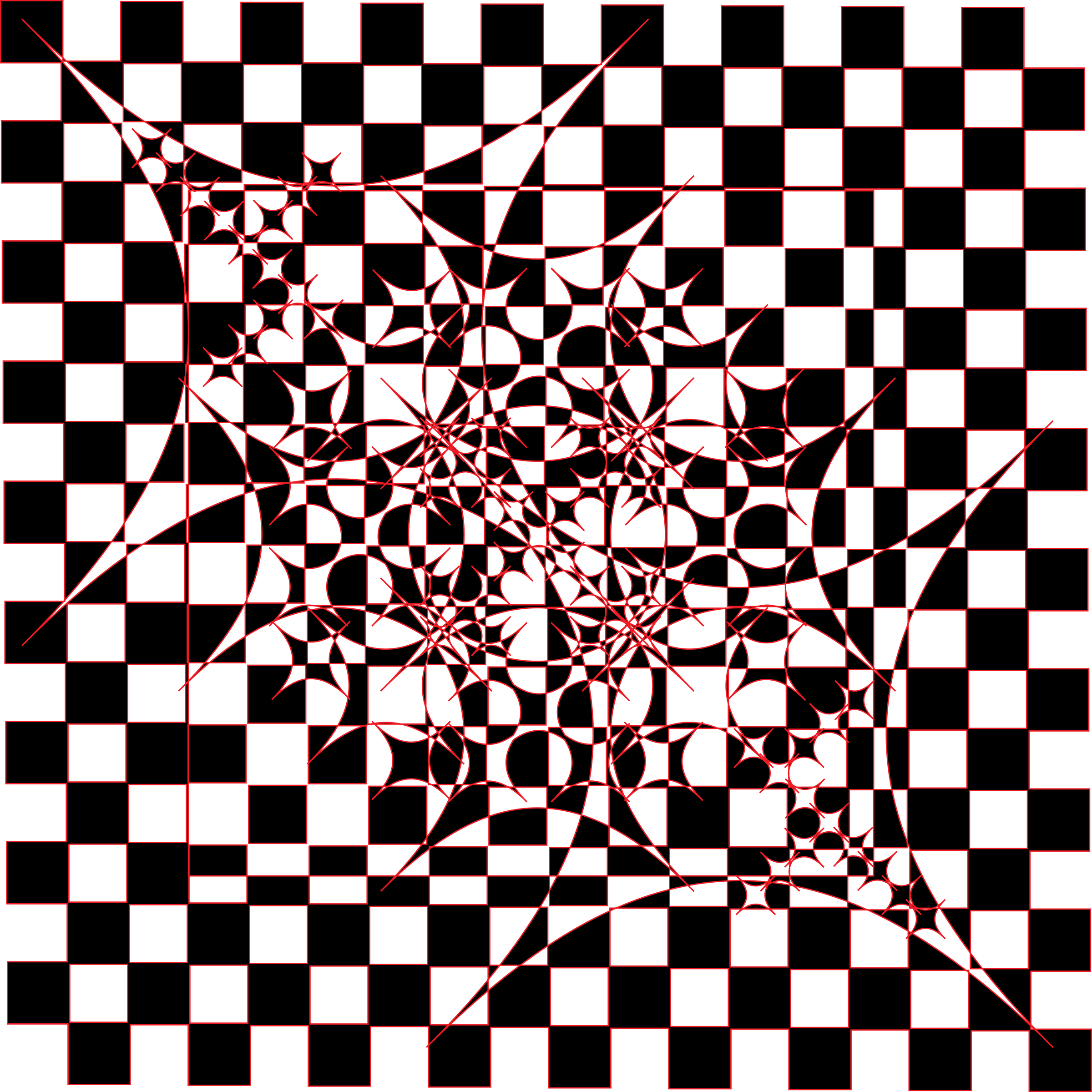 Modern Art Tile Checkered Black and White with Red outlines by dkonz01