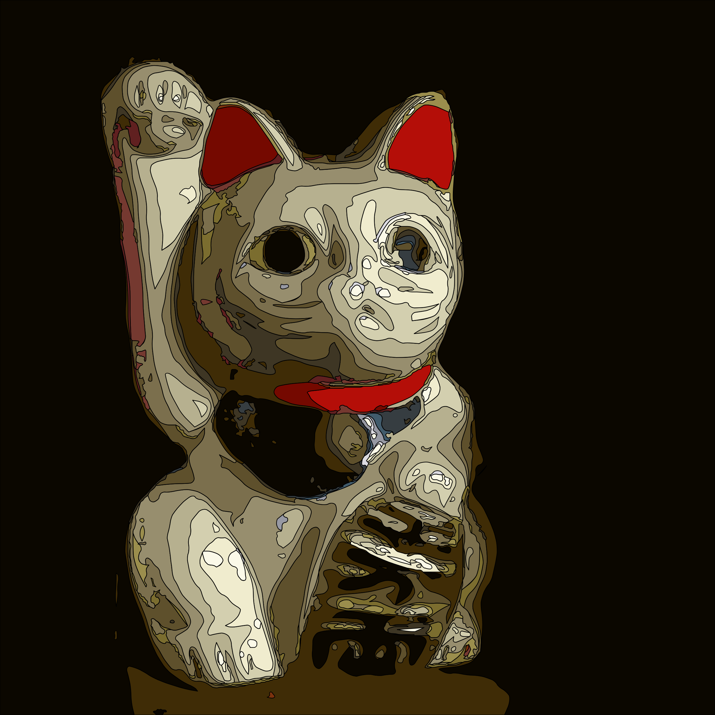 Maneki Neko on Black by j4p4n