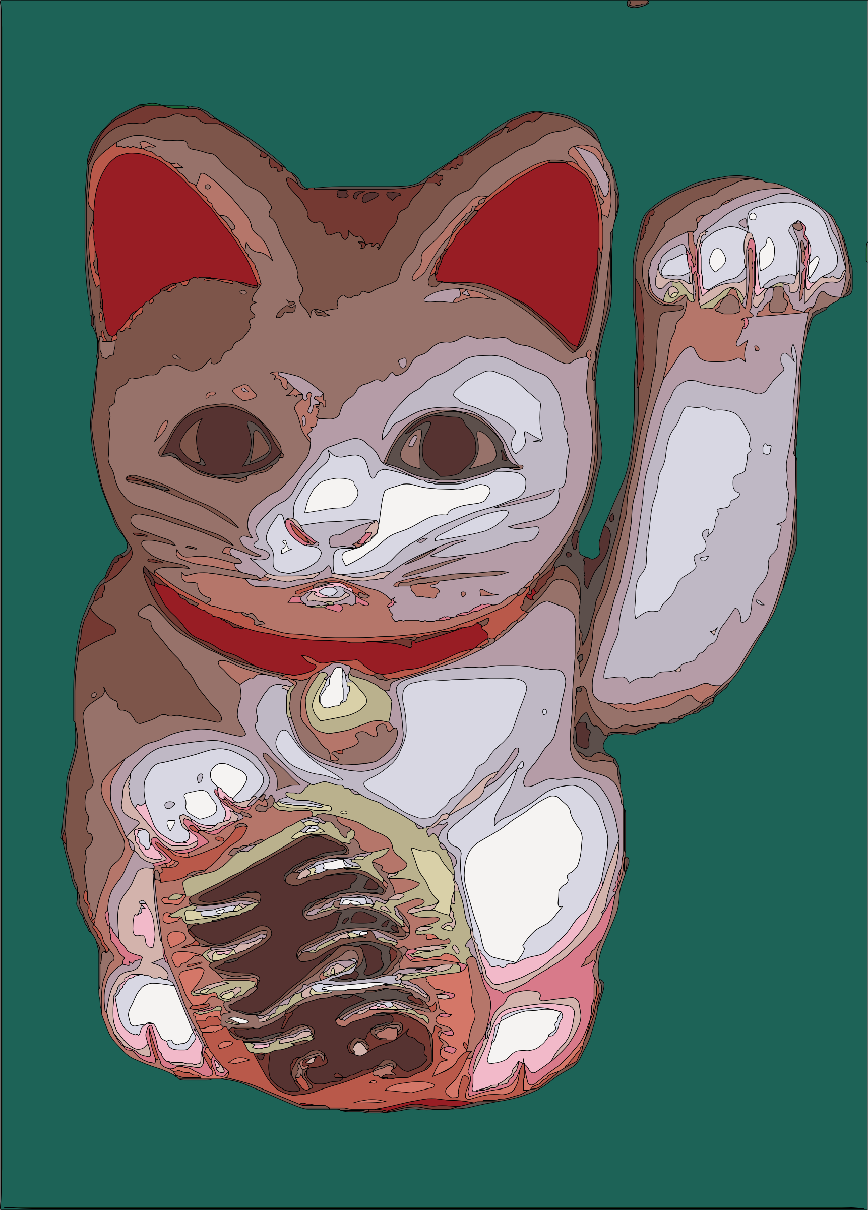 Maneki Neko on Teal by j4p4n