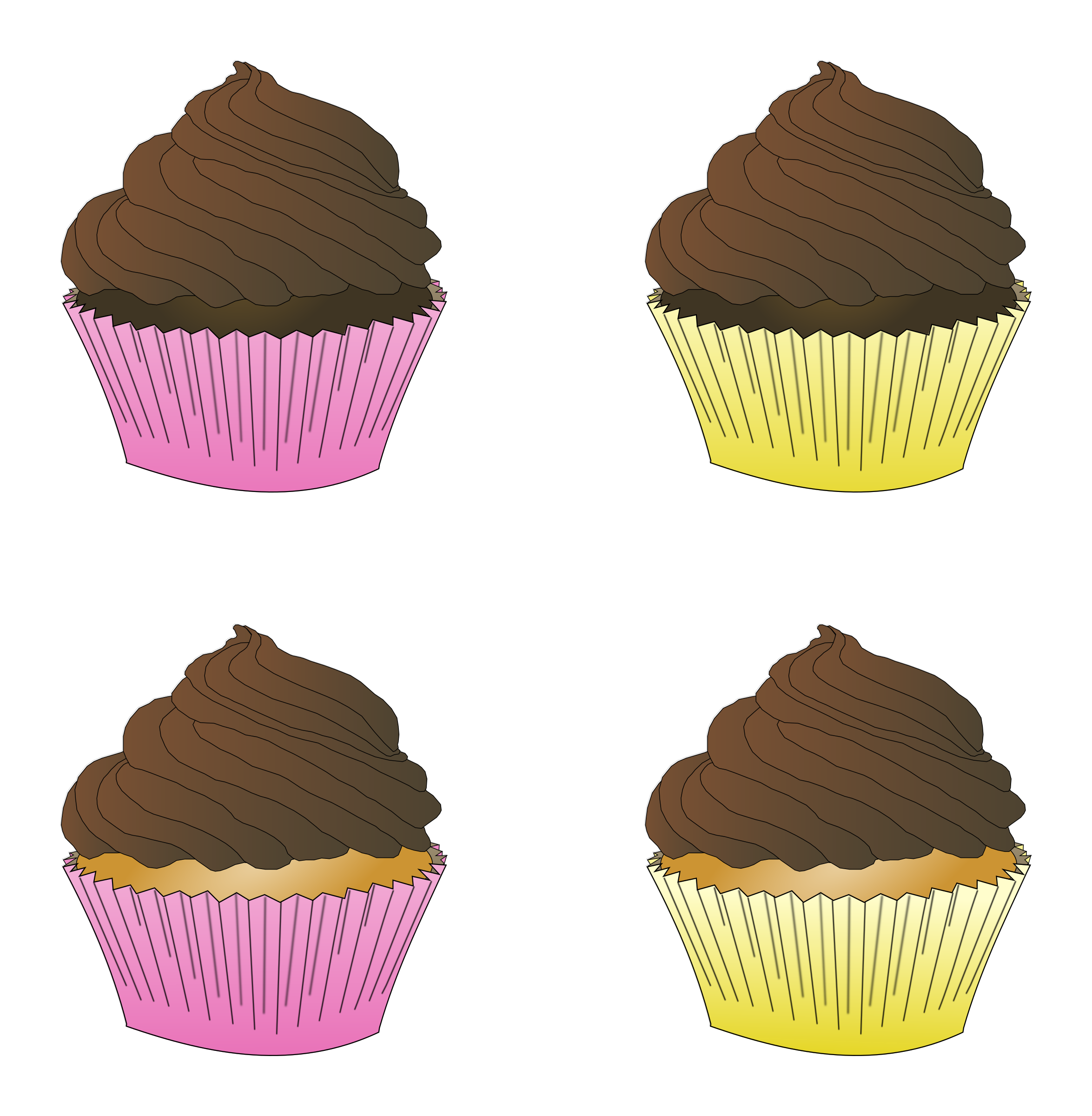 Assorted Chocolate Frosted Cupcakes by PinkJellyfish