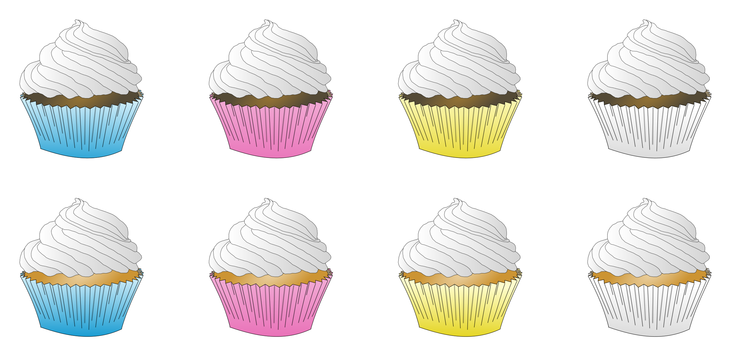 Assorted White Frosted Cupcakes by PinkJellyfish