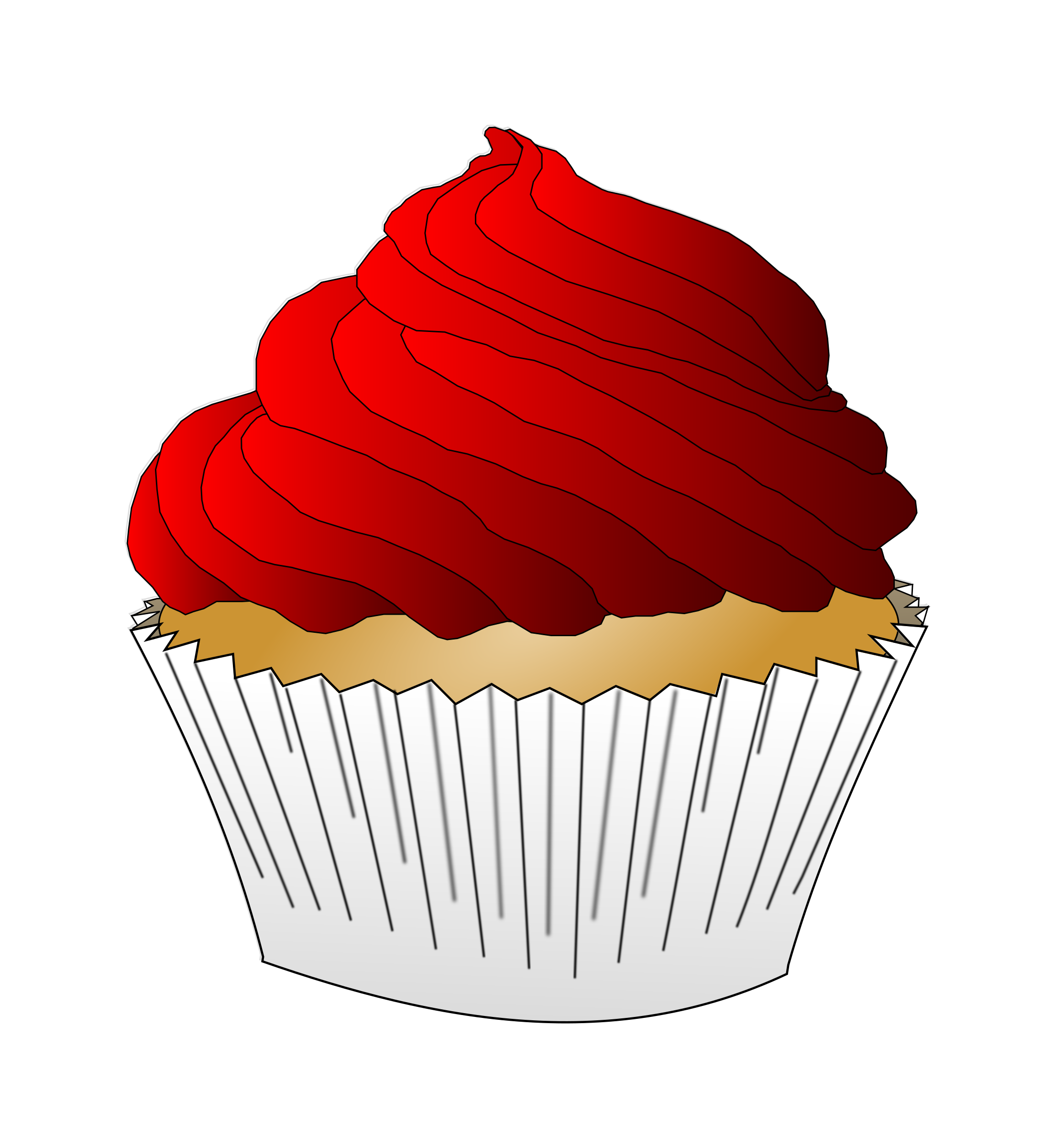 Red Frosting Cupcake by PinkJellyfish