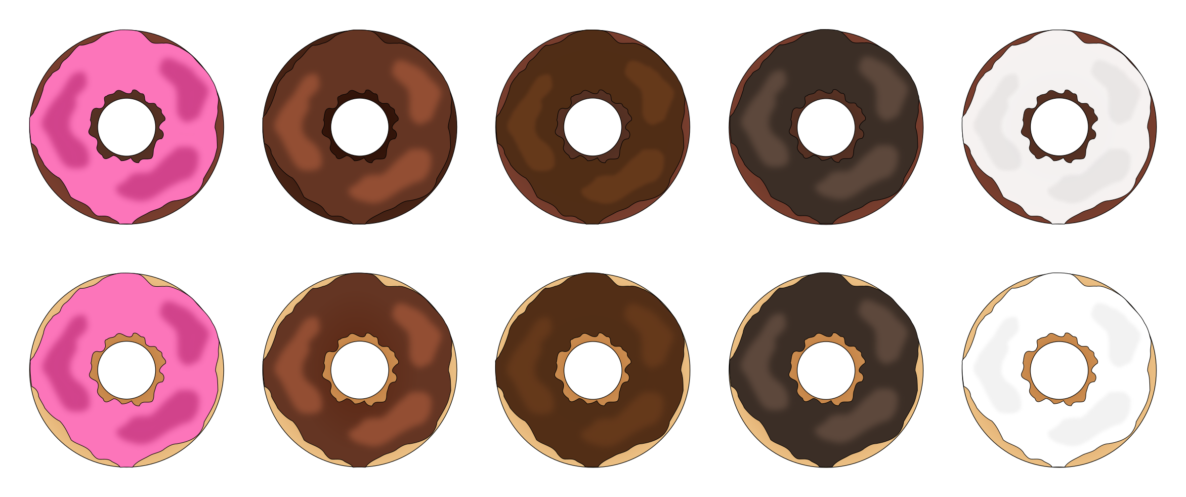 Assorted Plain Frosted Donuts by PinkJellyfish