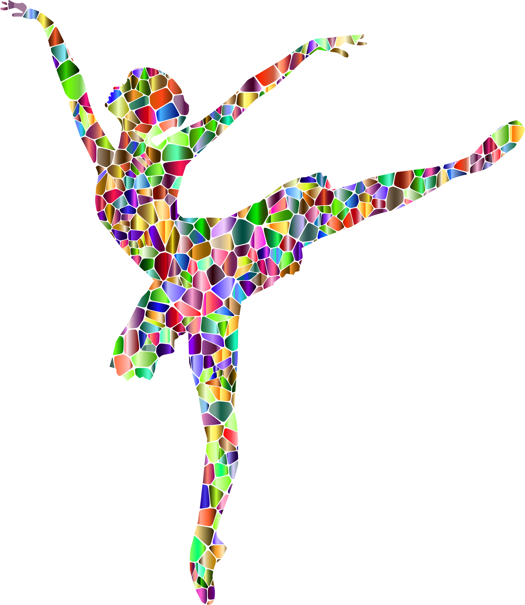 Vivid Chromatic Tiled Graceful Ballerina Silhouette by GDJ
