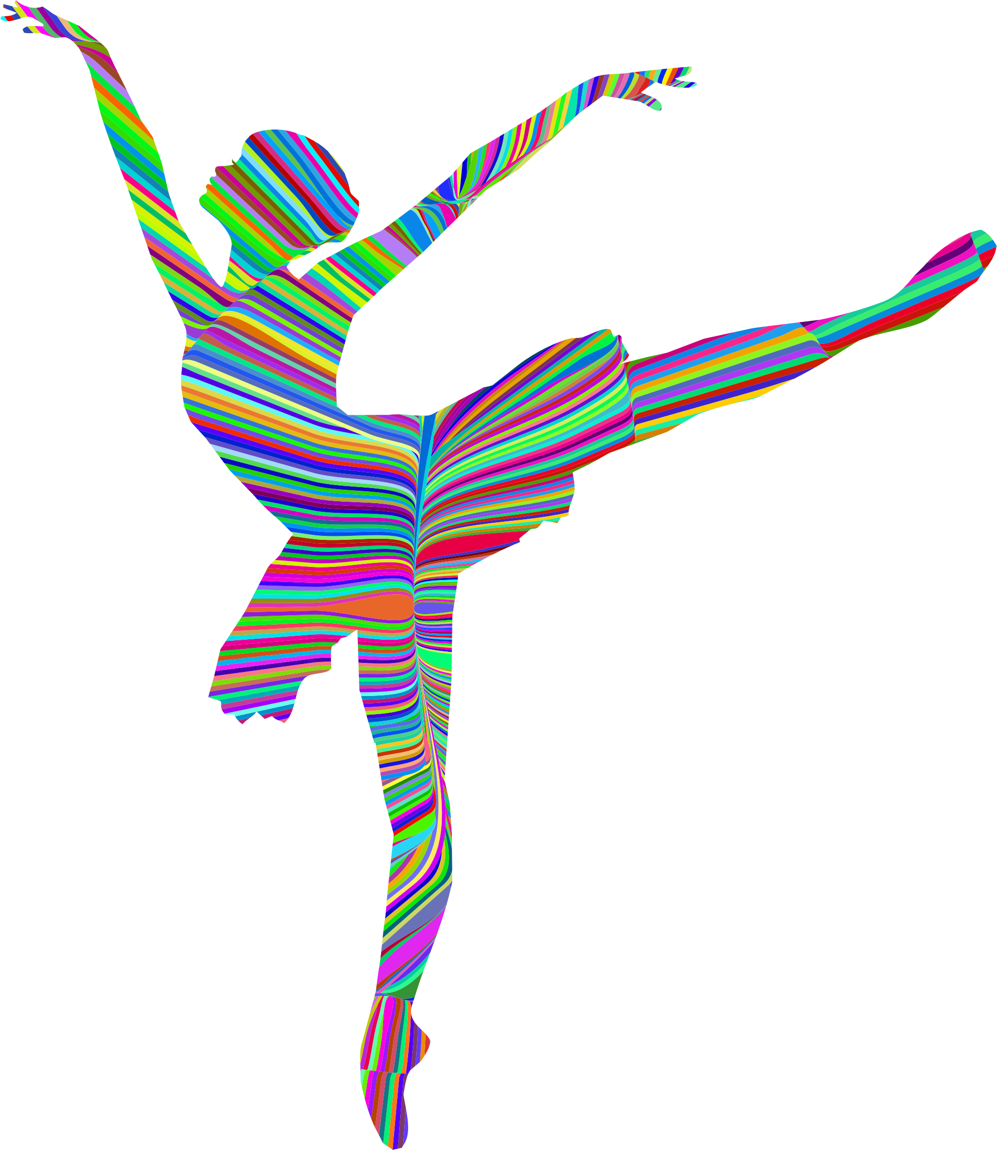 Psychedelic Waves Graceful Ballerina Silhouette by GDJ