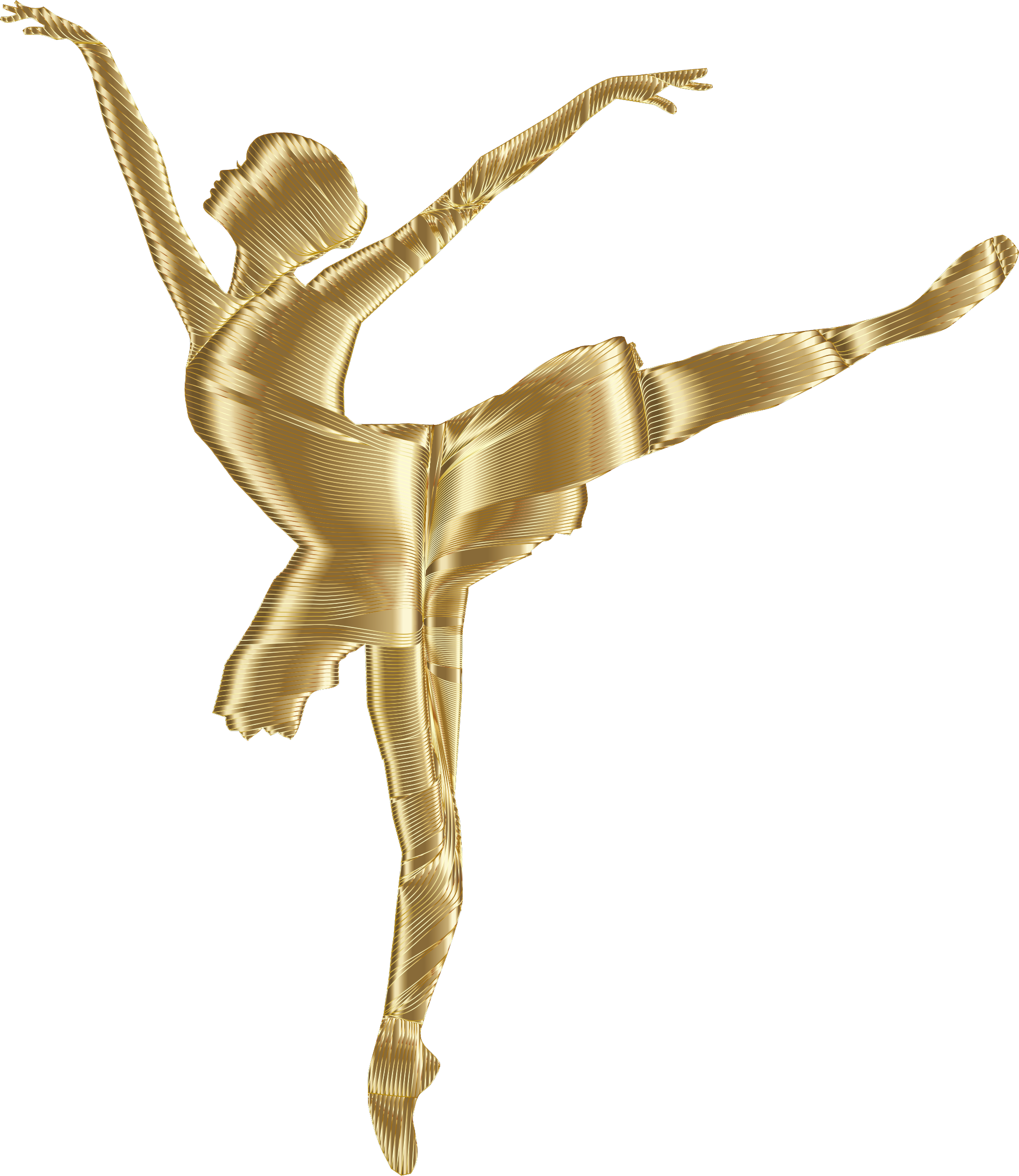 Clipart - Golden Graceful Ballerina Silhouette No Background