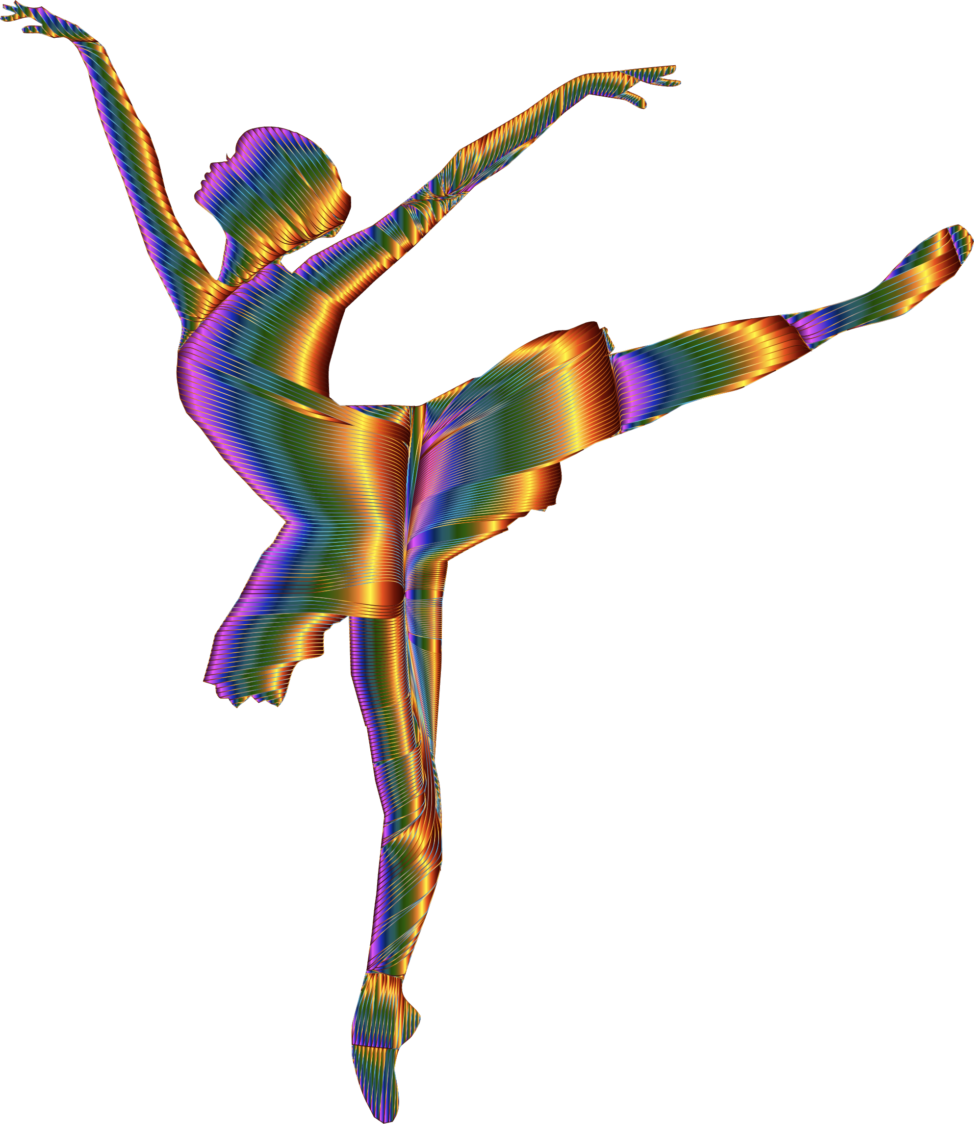 Chromatic Graceful Ballerina Silhouette No Background by GDJ