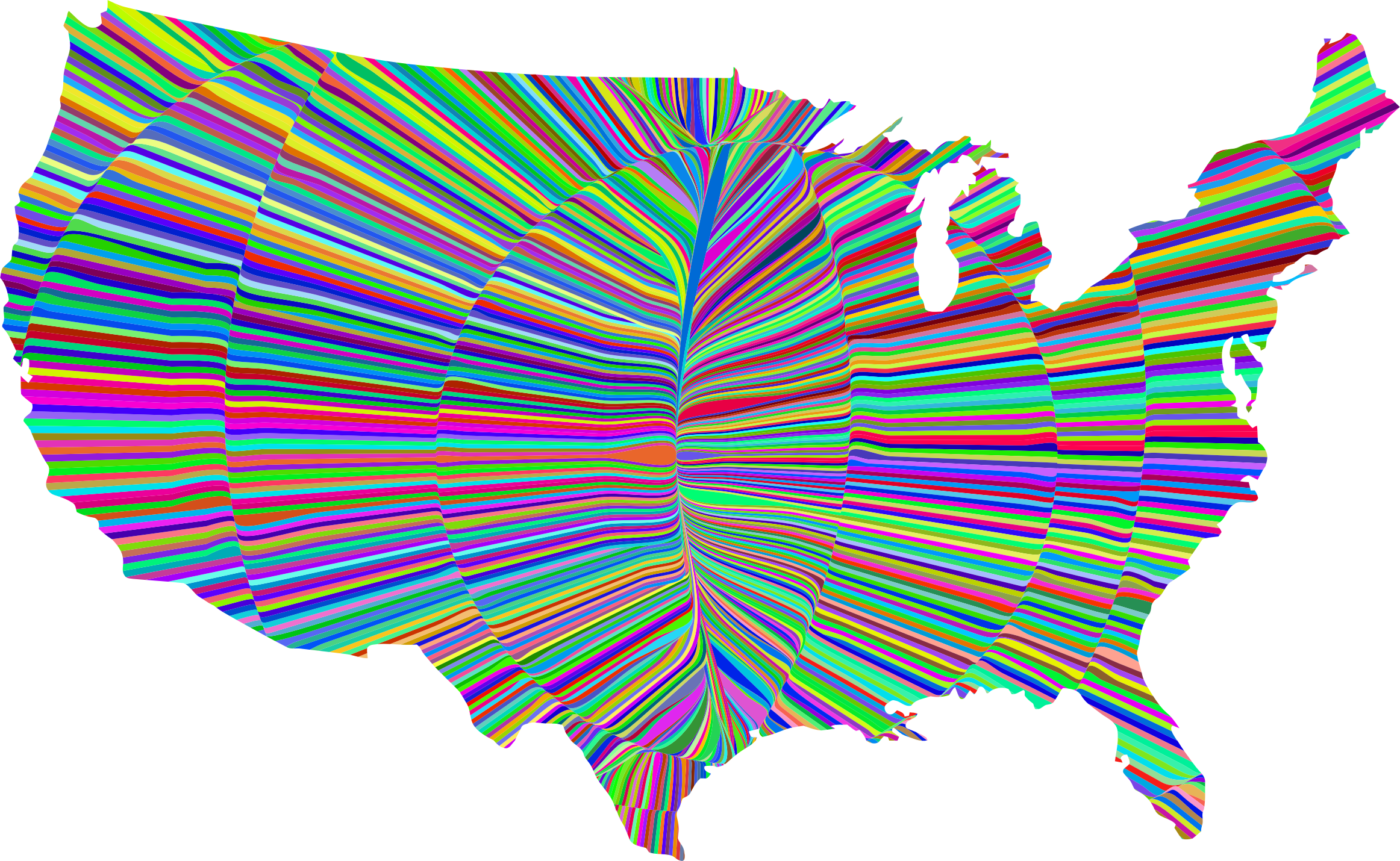 Psychedelic Waves United States Map by GDJ