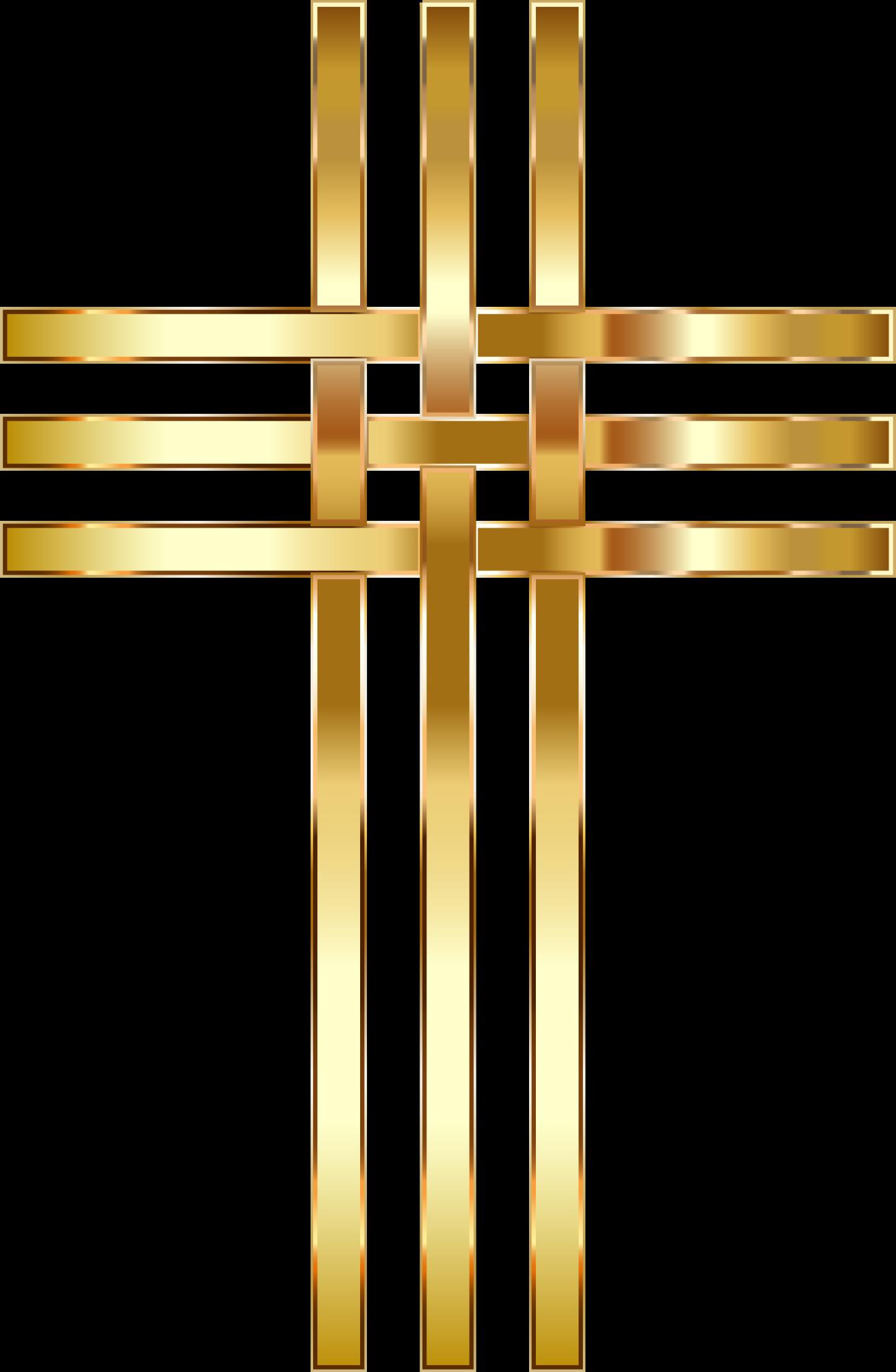 Clipart Interlocked Stylized Golden Cross No Background