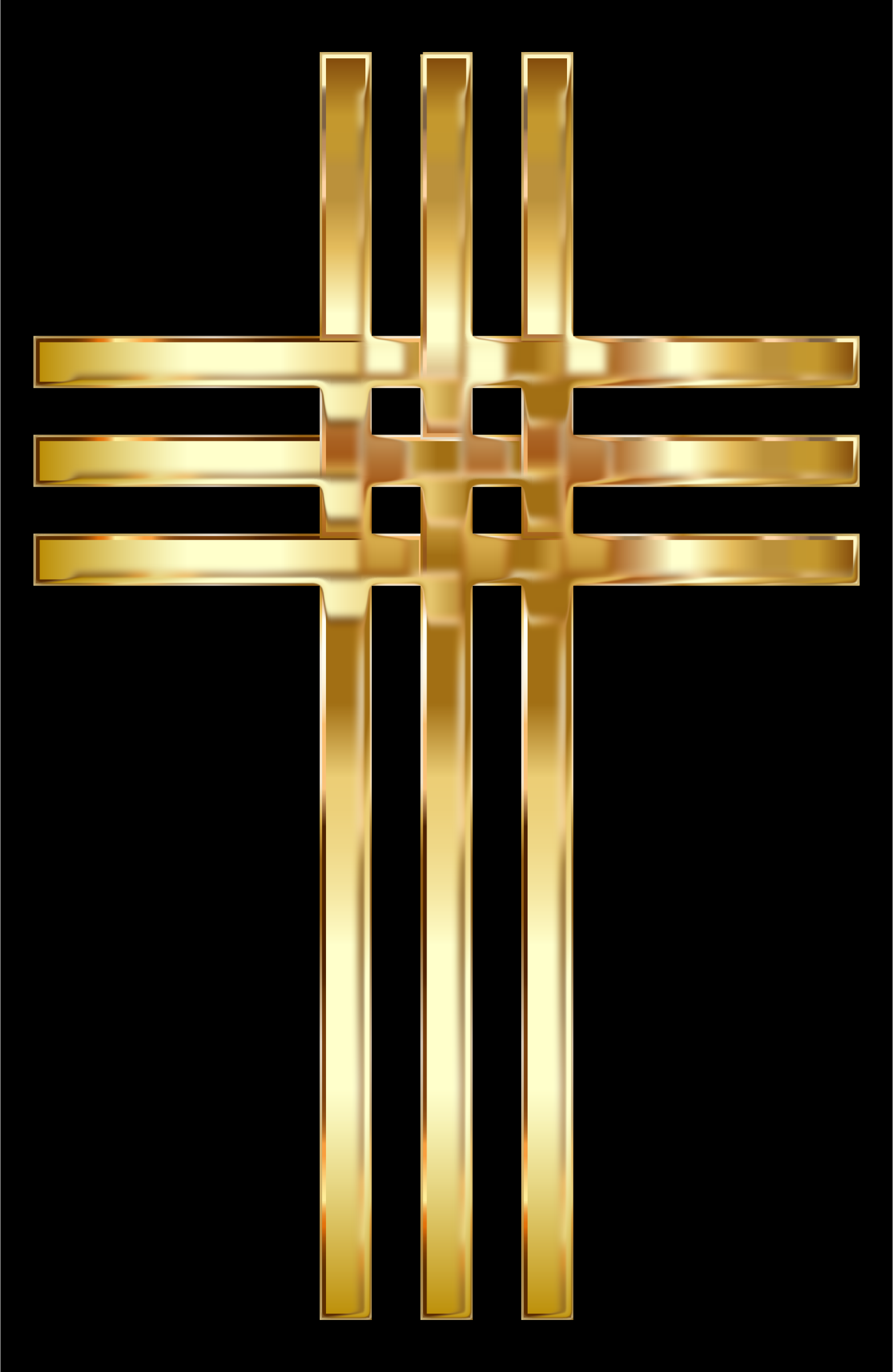 Interlocked Stylized Golden Cross Enhanced by GDJ