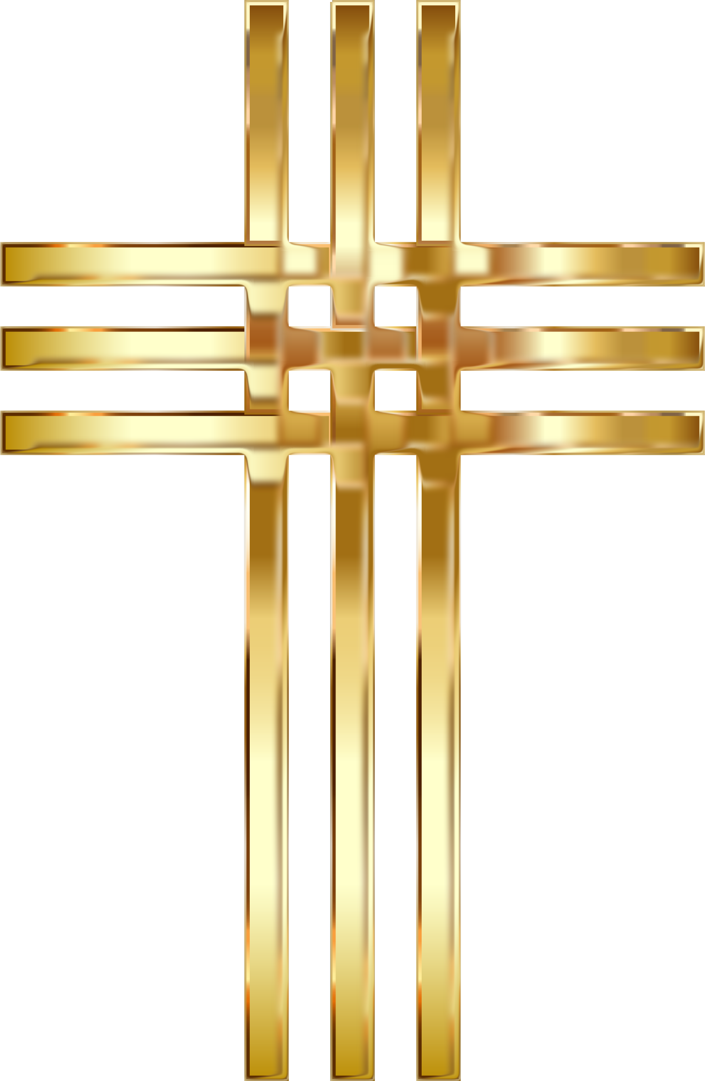Interlocked Stylized Golden Cross Enhanced No Background by GDJ
