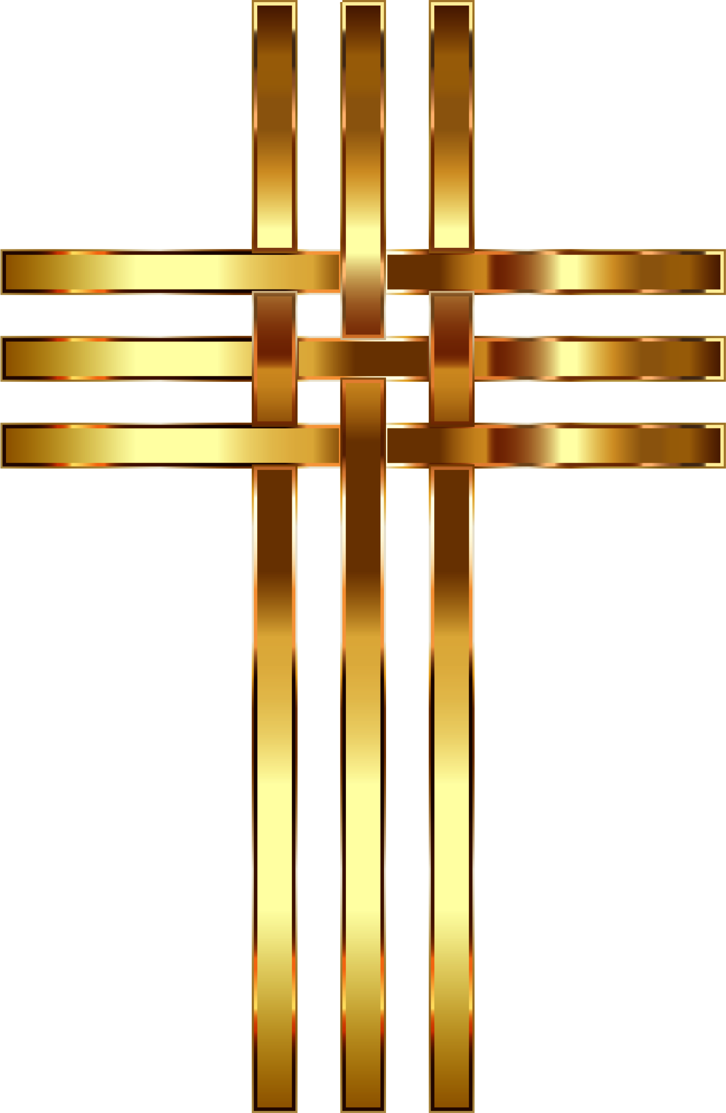 Interlocked Stylized Golden Cross Enhanced Contrast No Background by GDJ