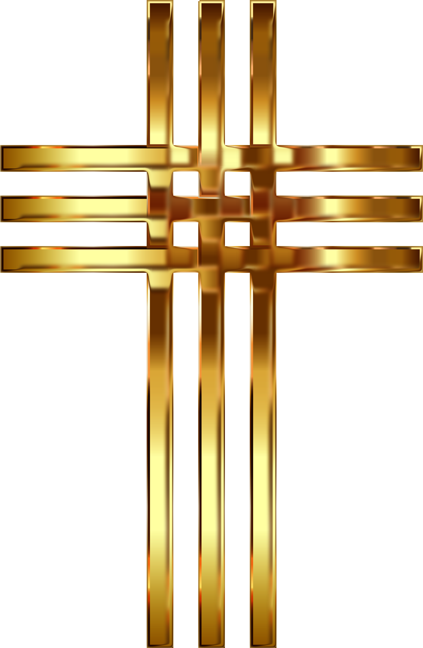 Clipart - Interlocked Stylized Golden Cross Enhanced 2 No Background