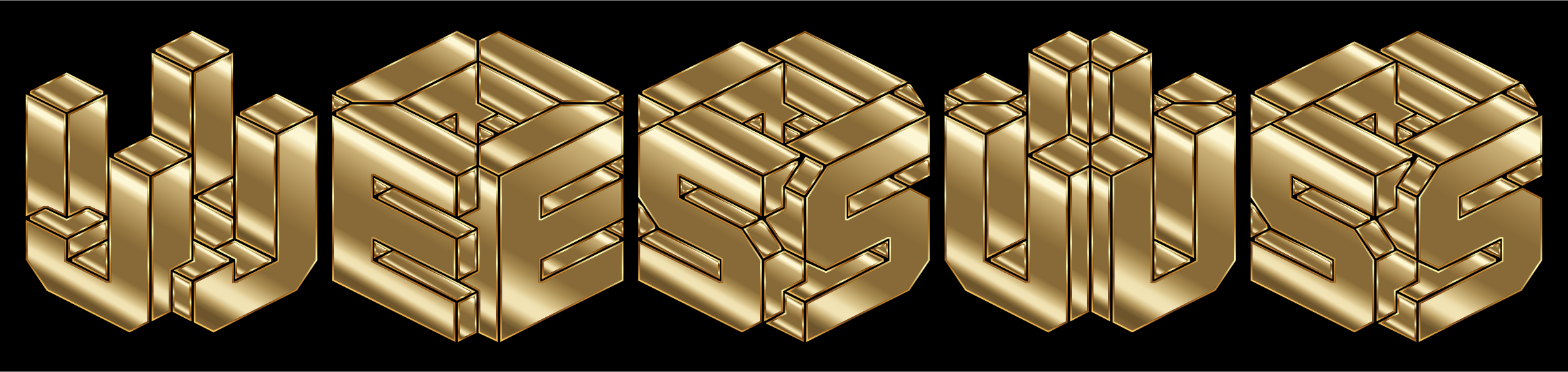 Gold 3D Isometric Jesus Typography by GDJ