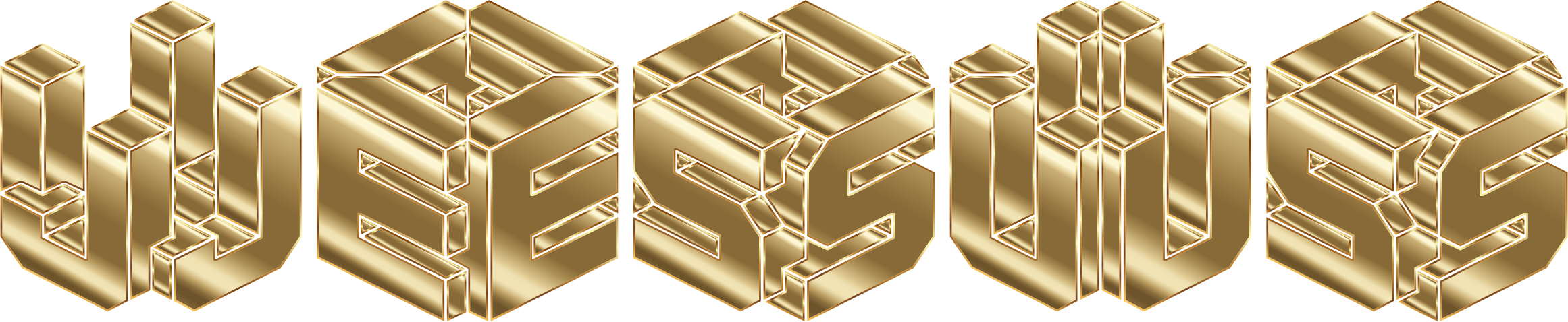 Gold 3D Isometric Jesus Typography No Background by GDJ