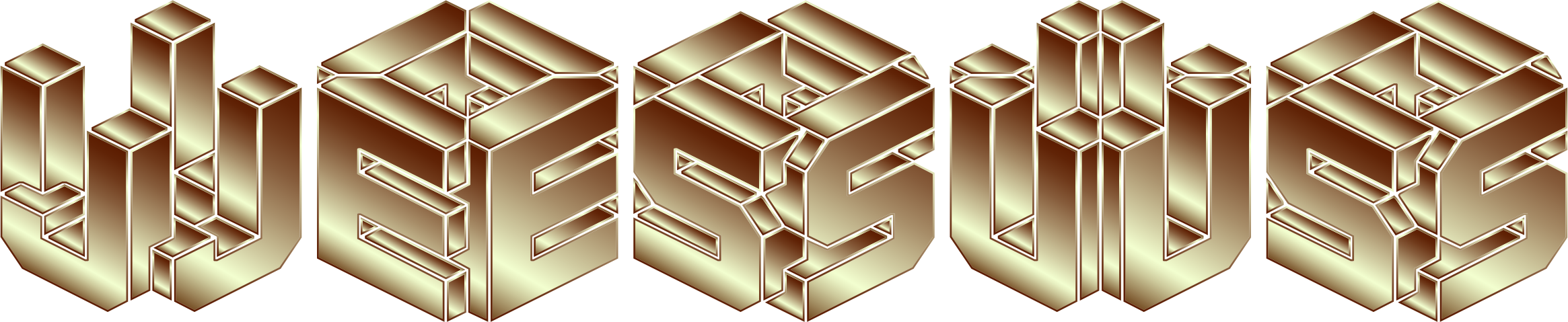 Gold 3D Isometric Jesus Typography 2 No Background by GDJ