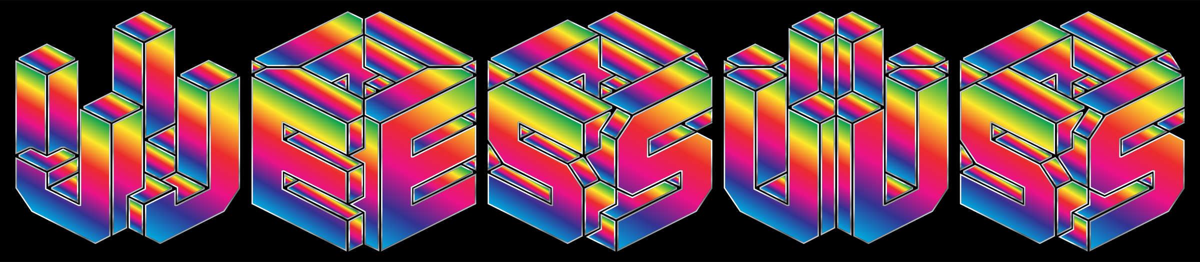 Prismatic 3D Isometric Jesus Typography by GDJ