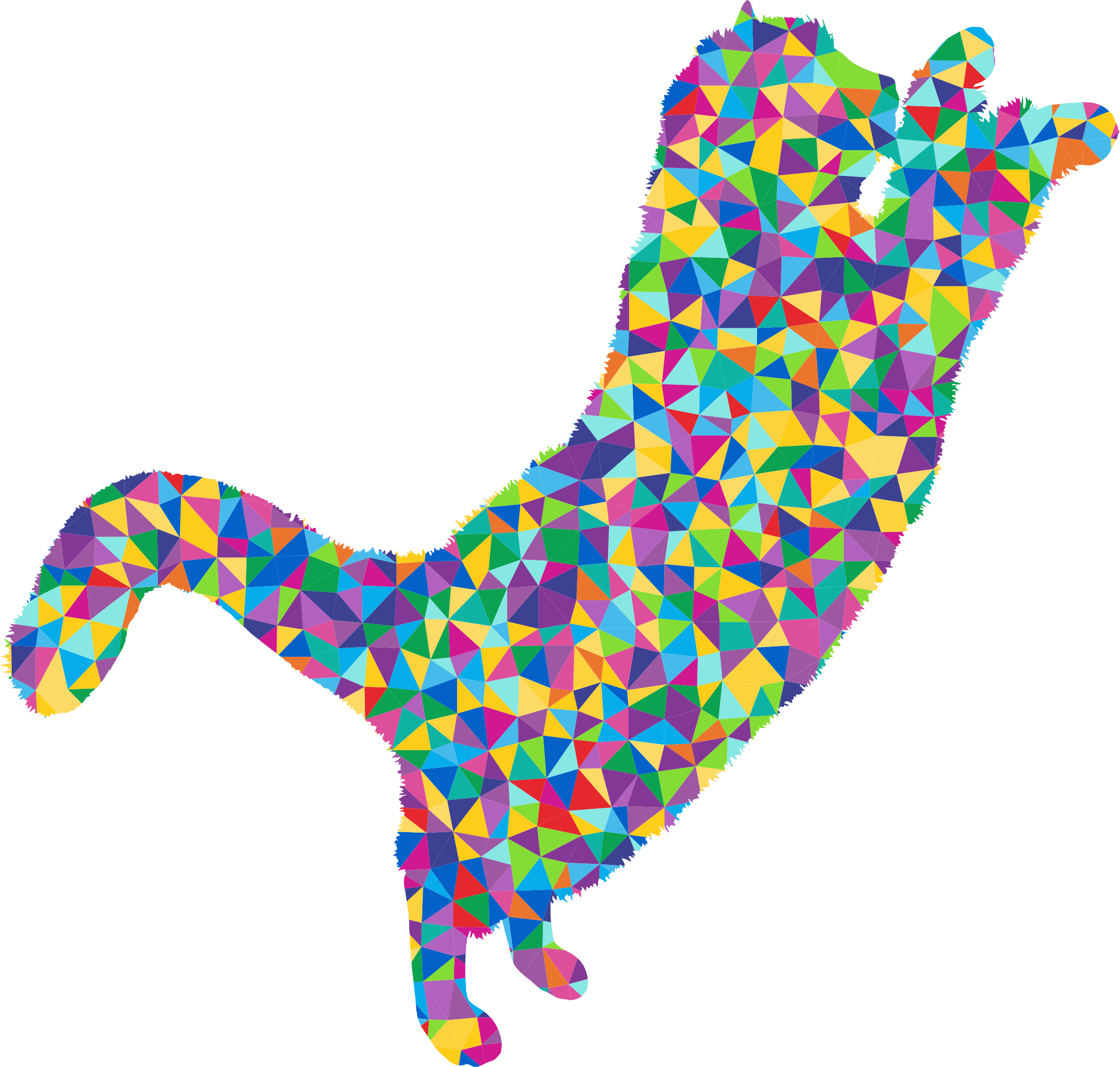 Low Poly Prismatic Fluffy Cat 2 Silhouette by GDJ