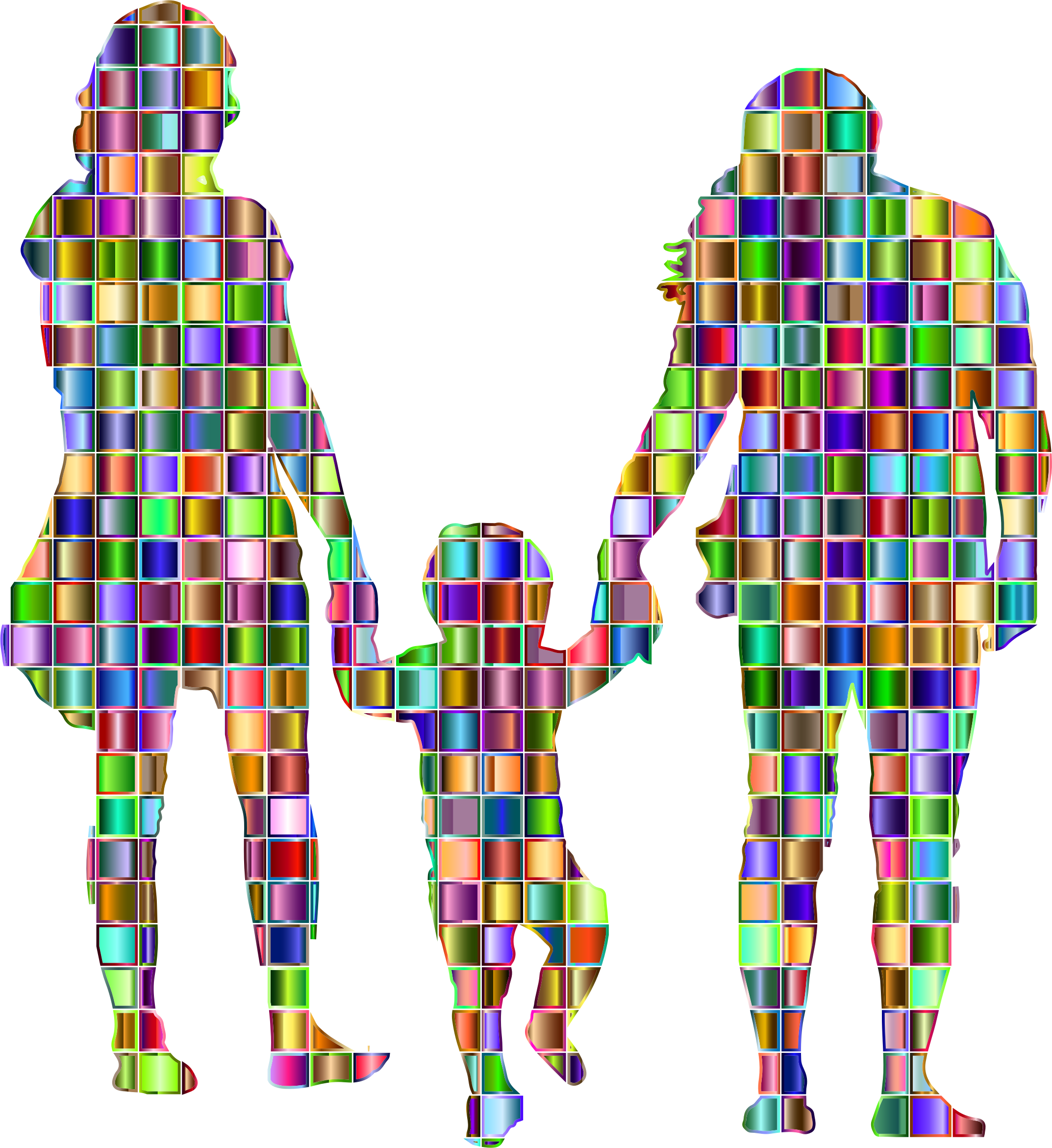 Chromatic Mosaic Squares Family With A Child In The Middle Silhouette by GDJ