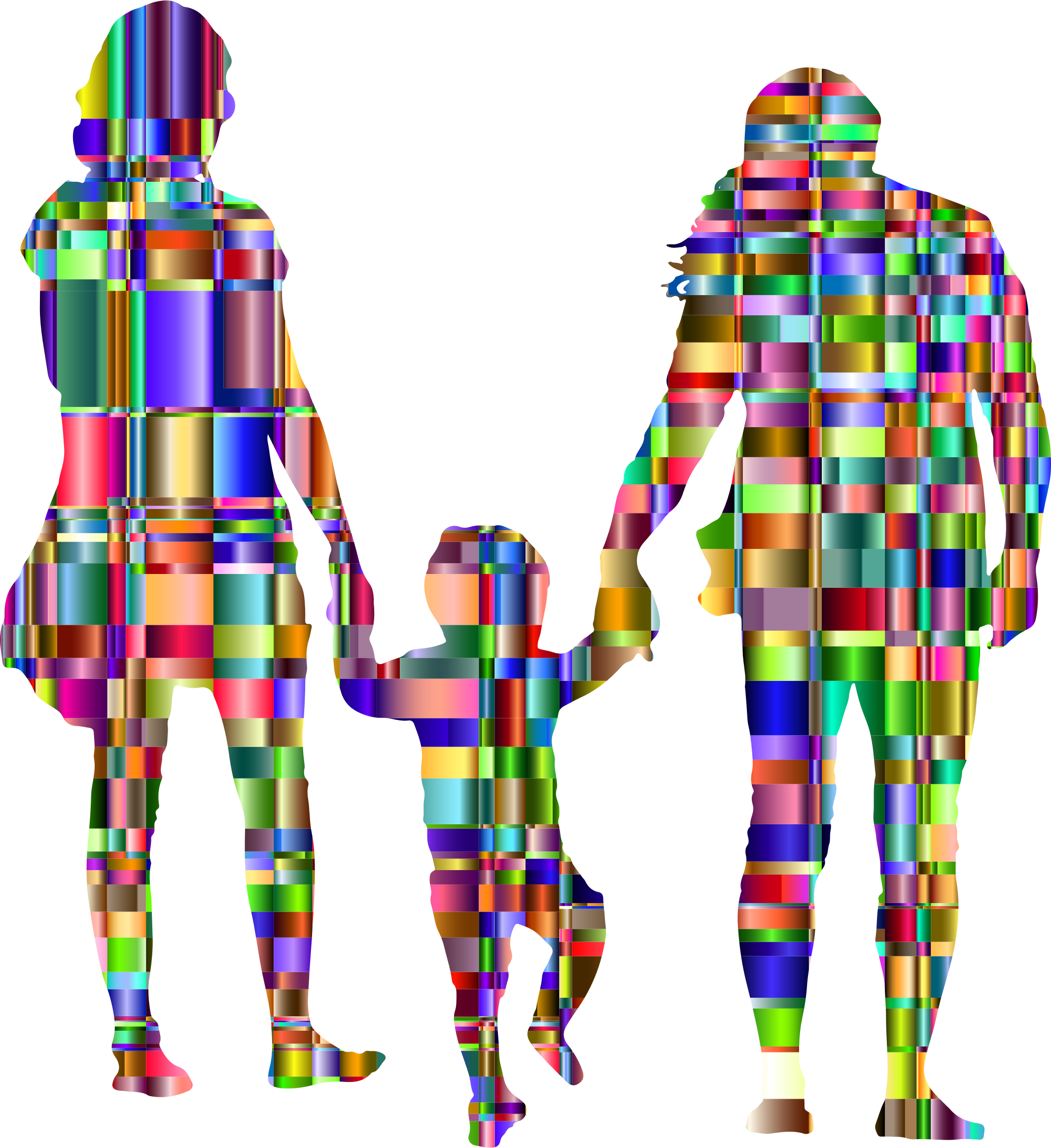 Chromatic Checkered Family With A Child In The Middle Silhouette by GDJ