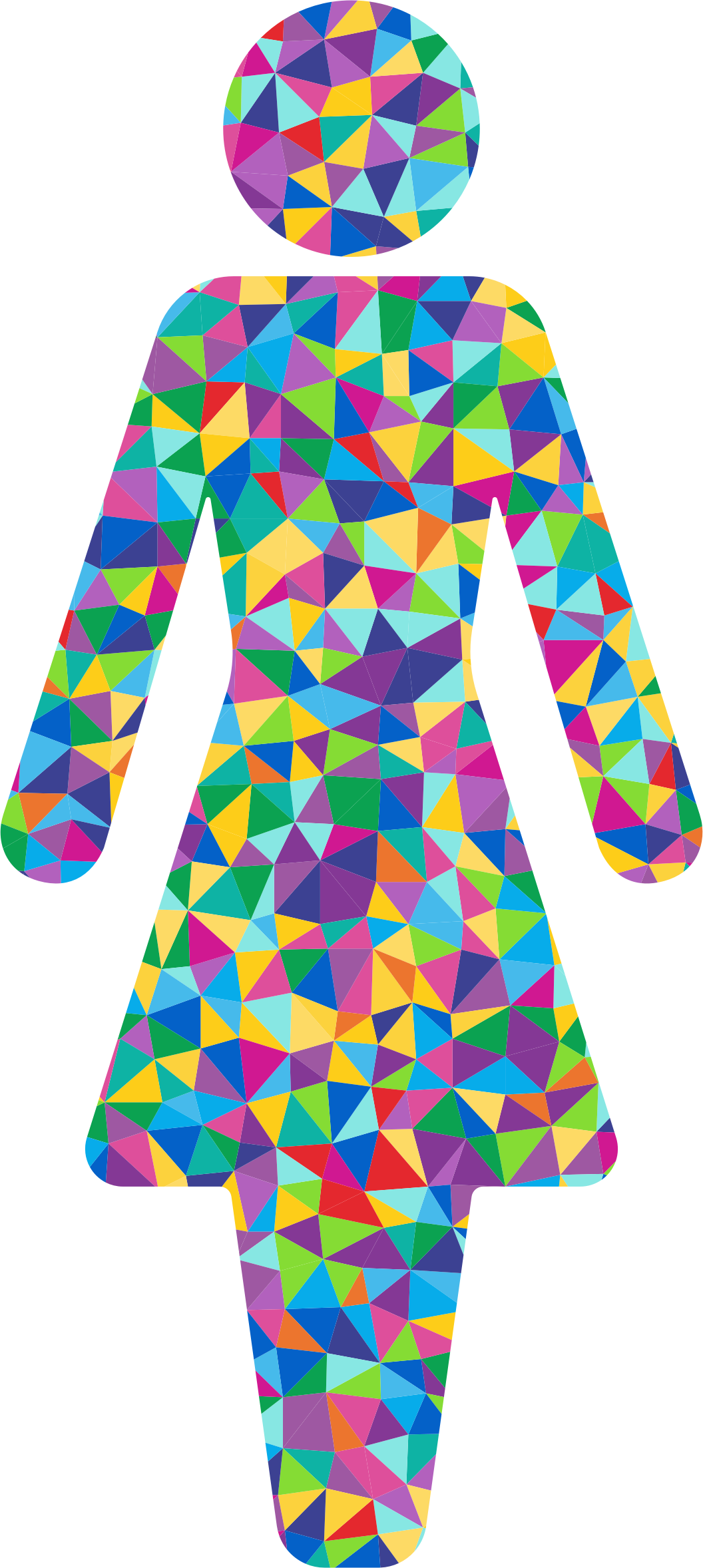 Prismatic Low Poly Female Symbol Silhouette by GDJ