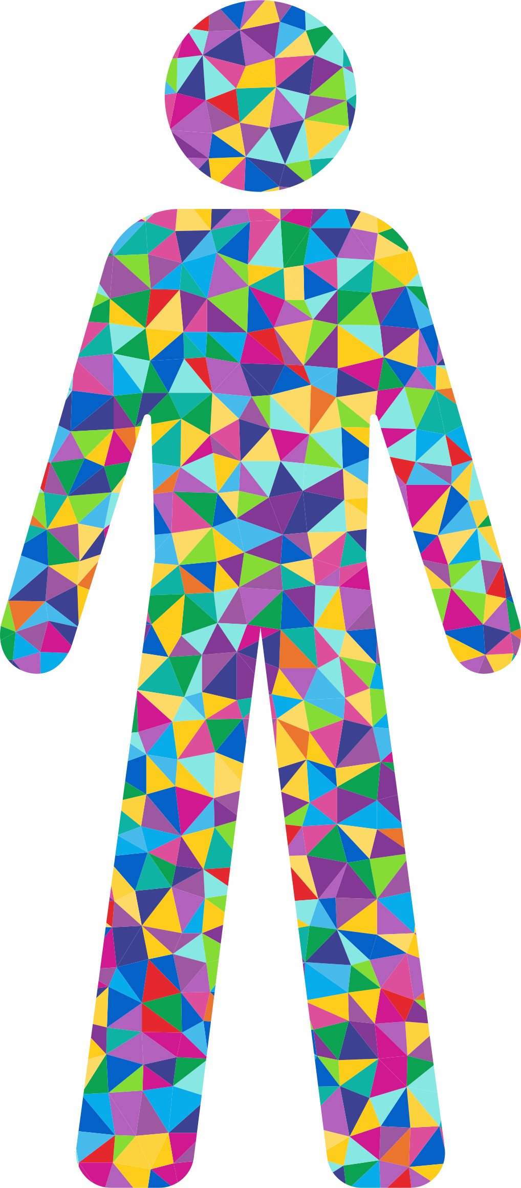 Prismatic Low Poly Male Symbol Silhouette by GDJ