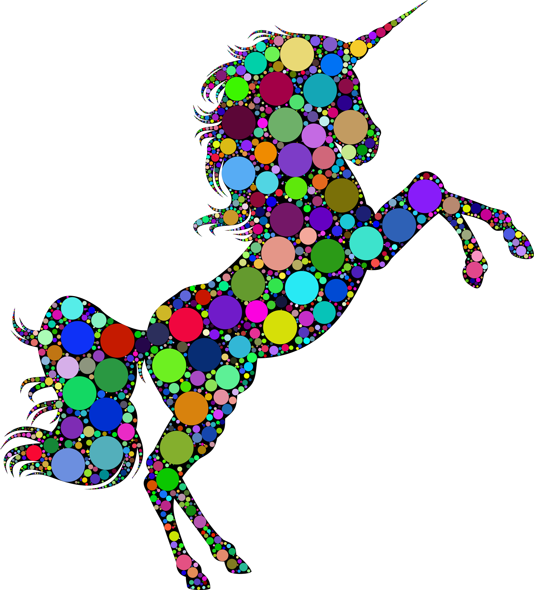 Prismatic Unicorn Silhouette 2 Circles by GDJ