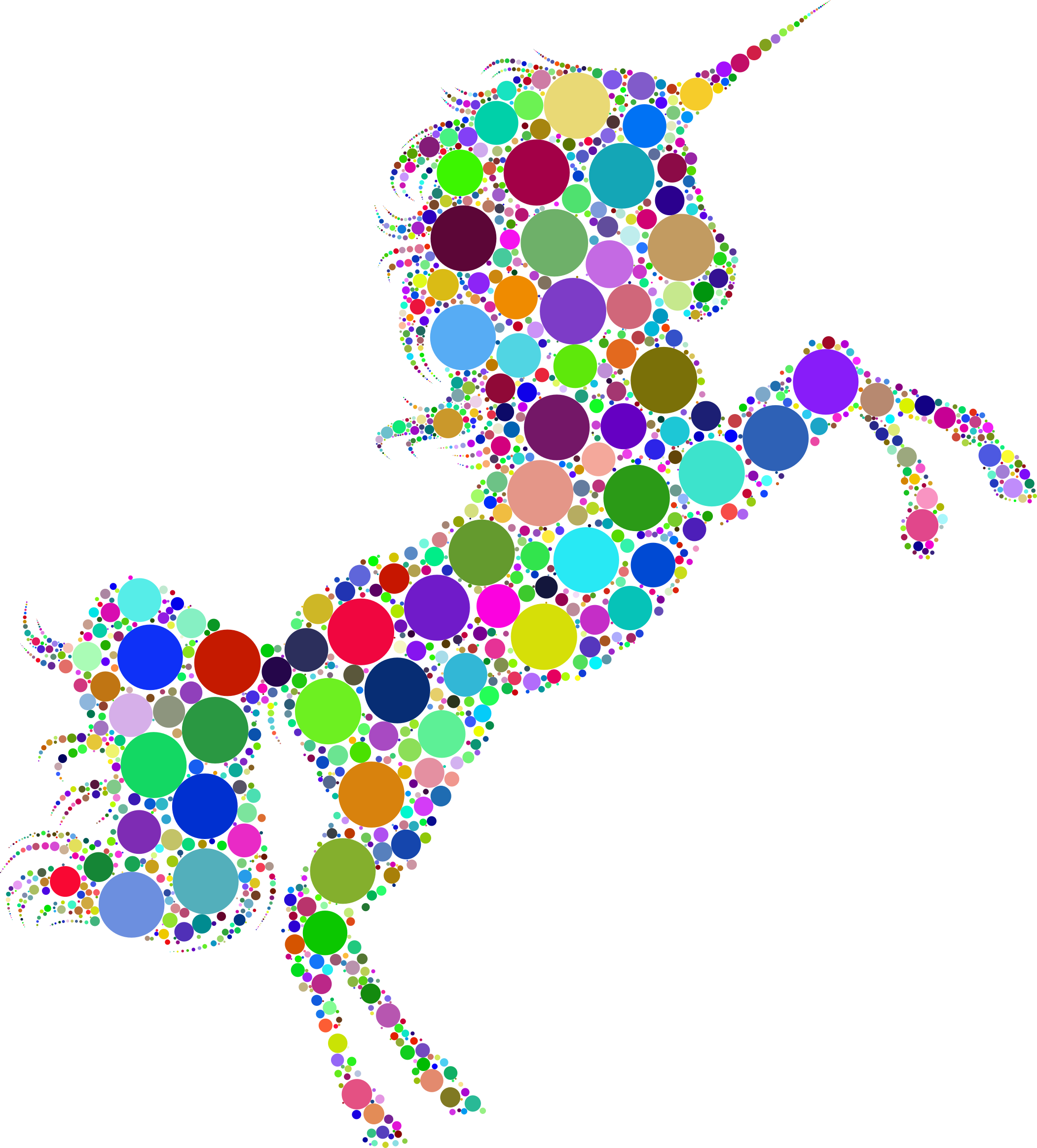 Prismatic Unicorn Silhouette 2 Circles No Background by GDJ