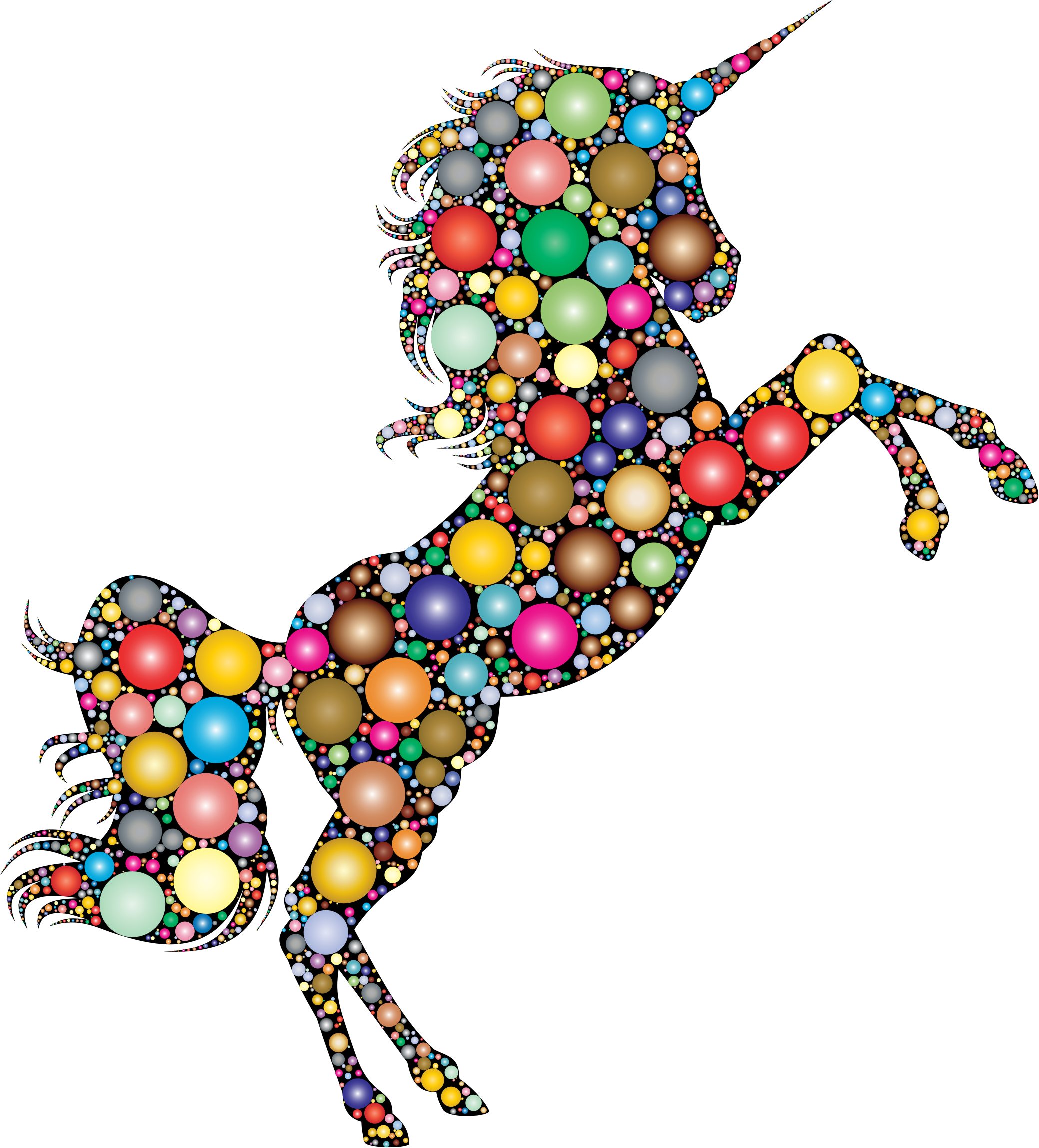 Prismatic Unicorn Silhouette 2 Circles 2 by GDJ