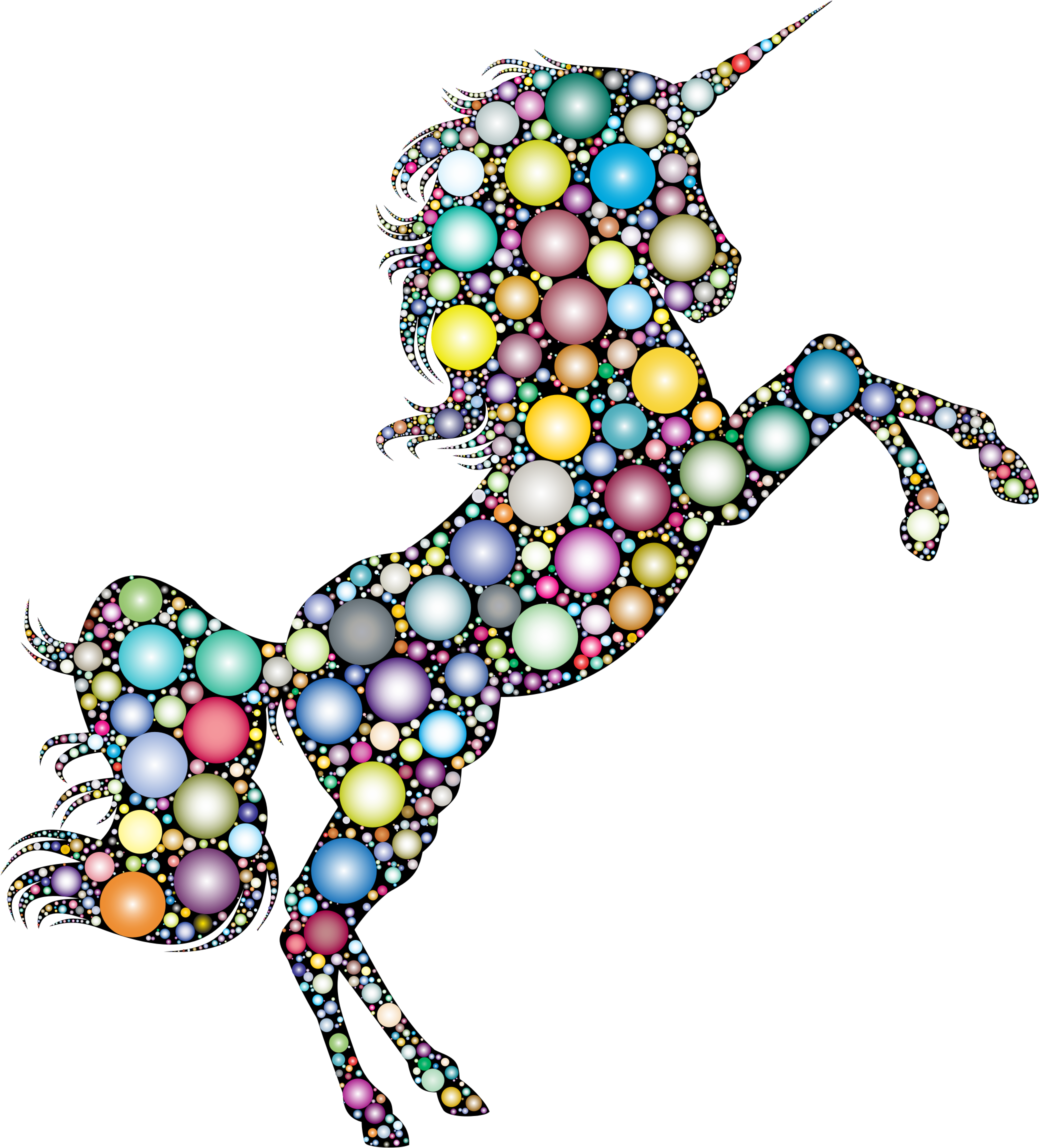 Prismatic Unicorn Silhouette 2 Circles 3 by GDJ