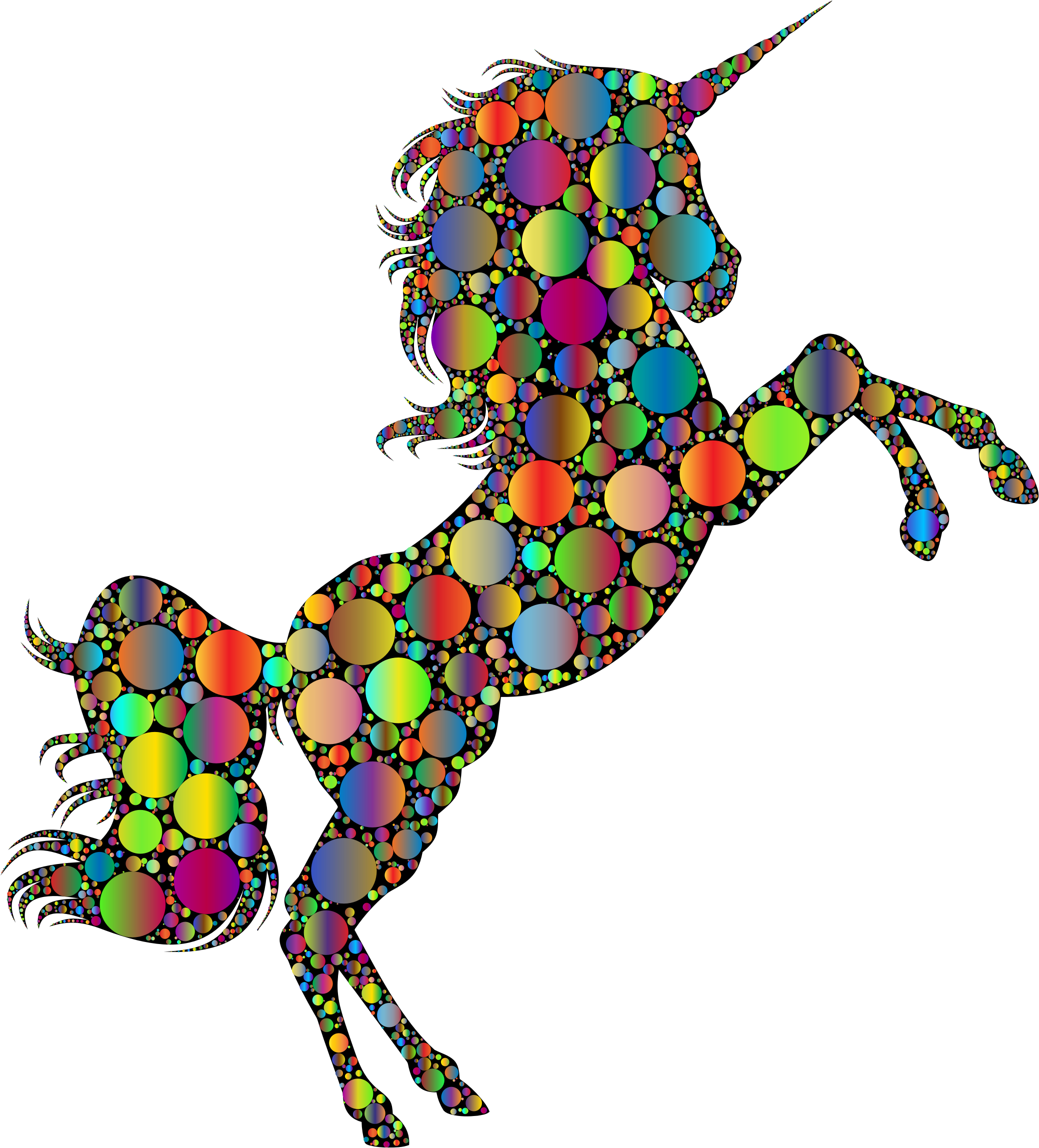 Prismatic Unicorn Silhouette 2 Circles 4 by GDJ