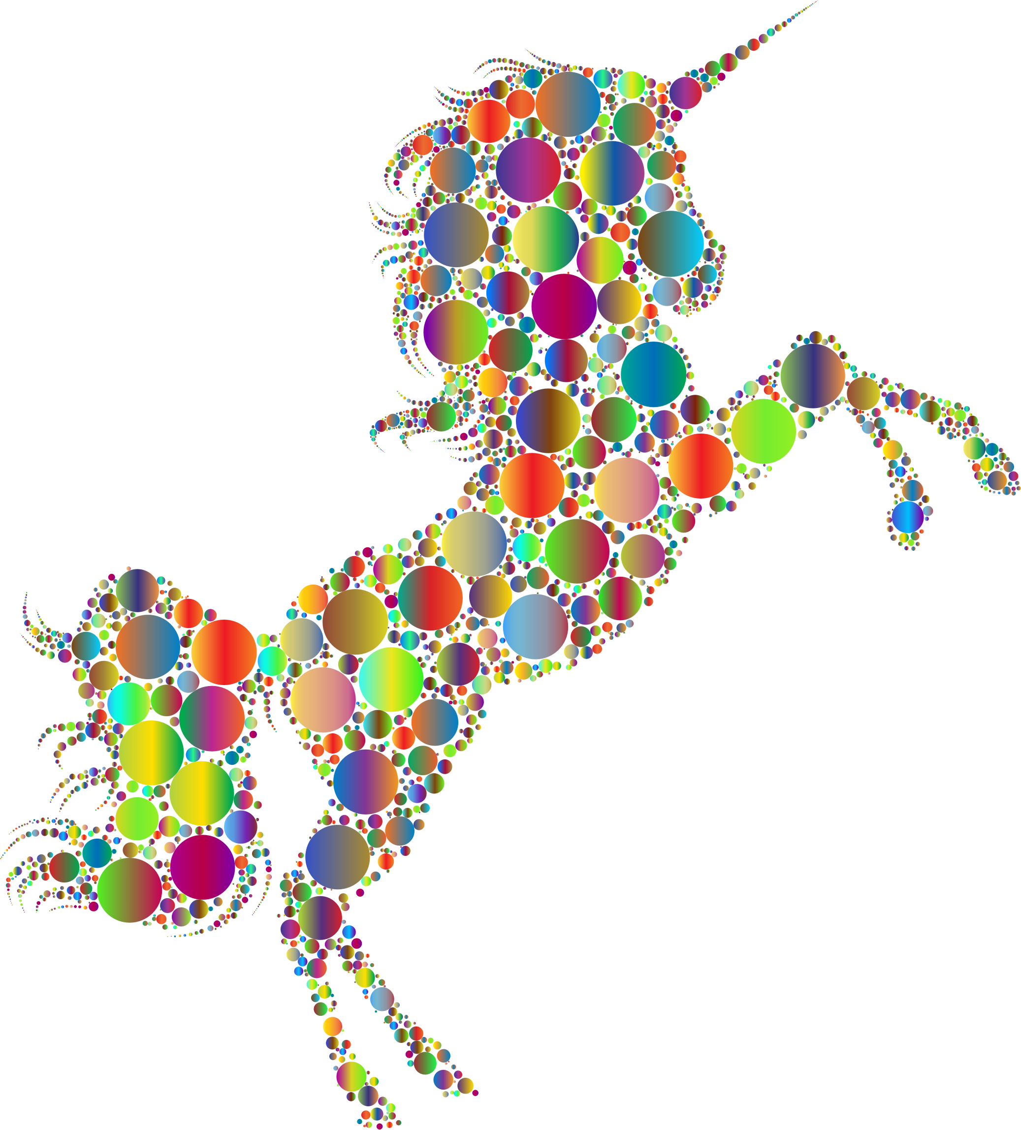 Prismatic Unicorn Silhouette 2 Circles 4 No Background by GDJ